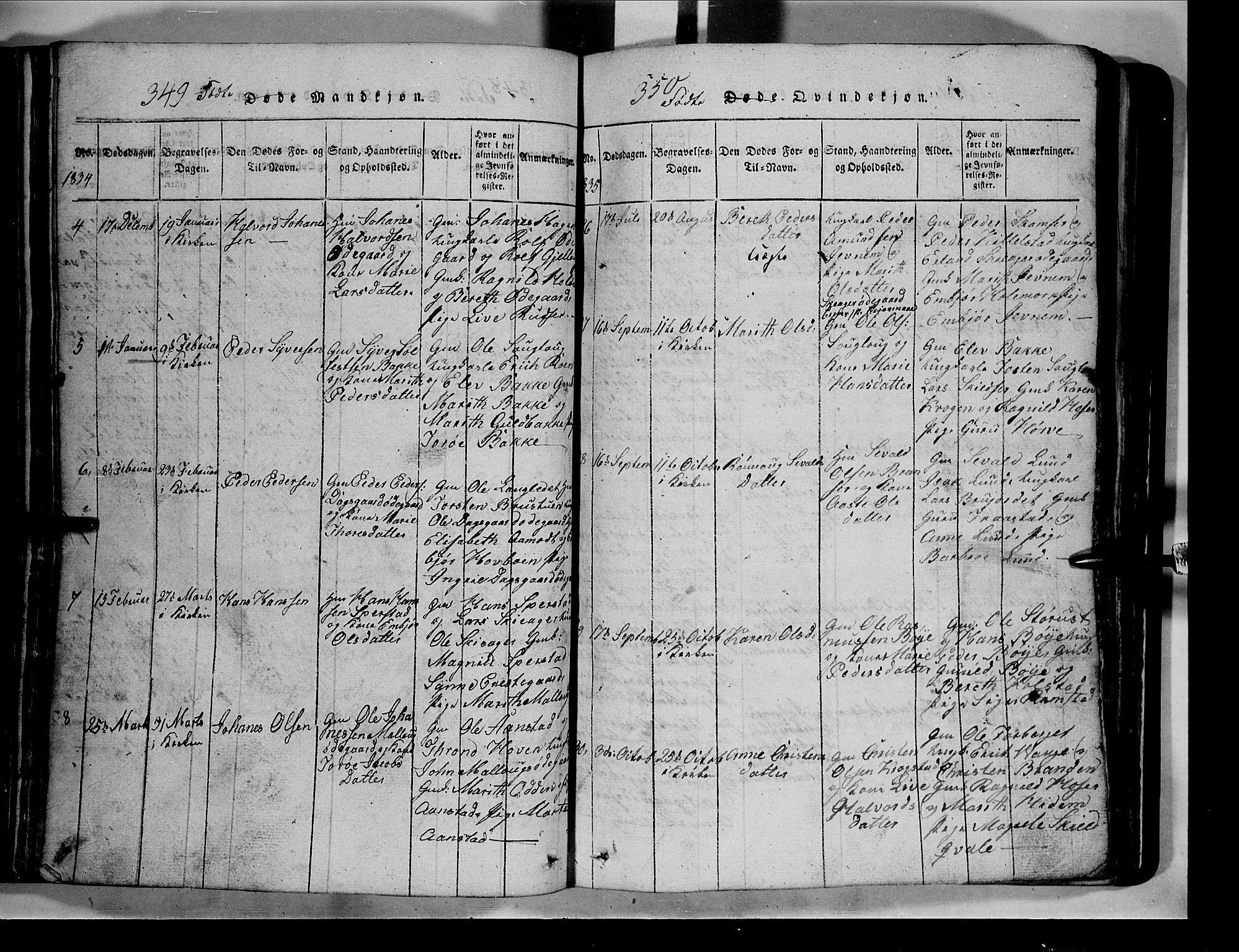 SAH, Lom prestekontor, L/L0003: Klokkerbok nr. 3, 1815-1844, s. 349-350