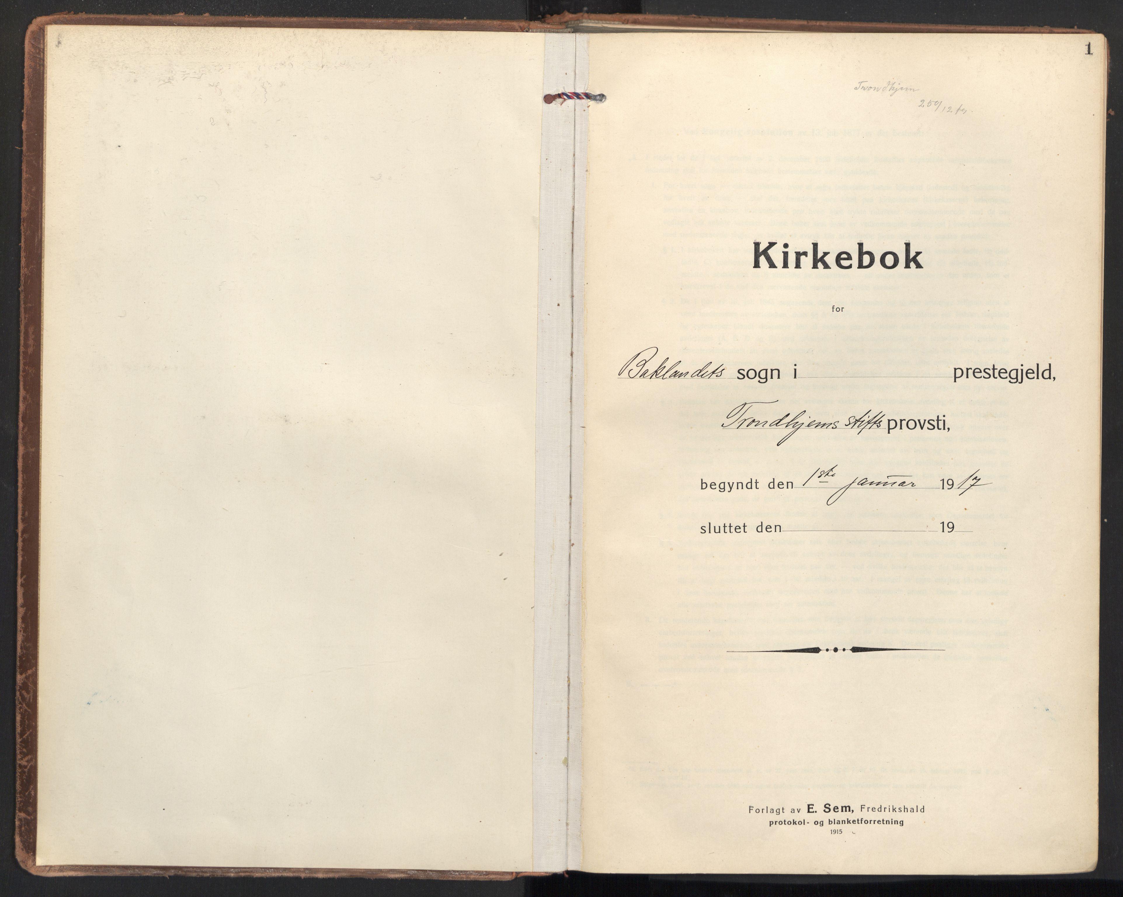 SAT, Ministerialprotokoller, klokkerbøker og fødselsregistre - Sør-Trøndelag, 604/L0206: Ministerialbok nr. 604A26, 1917-1931, s. 1