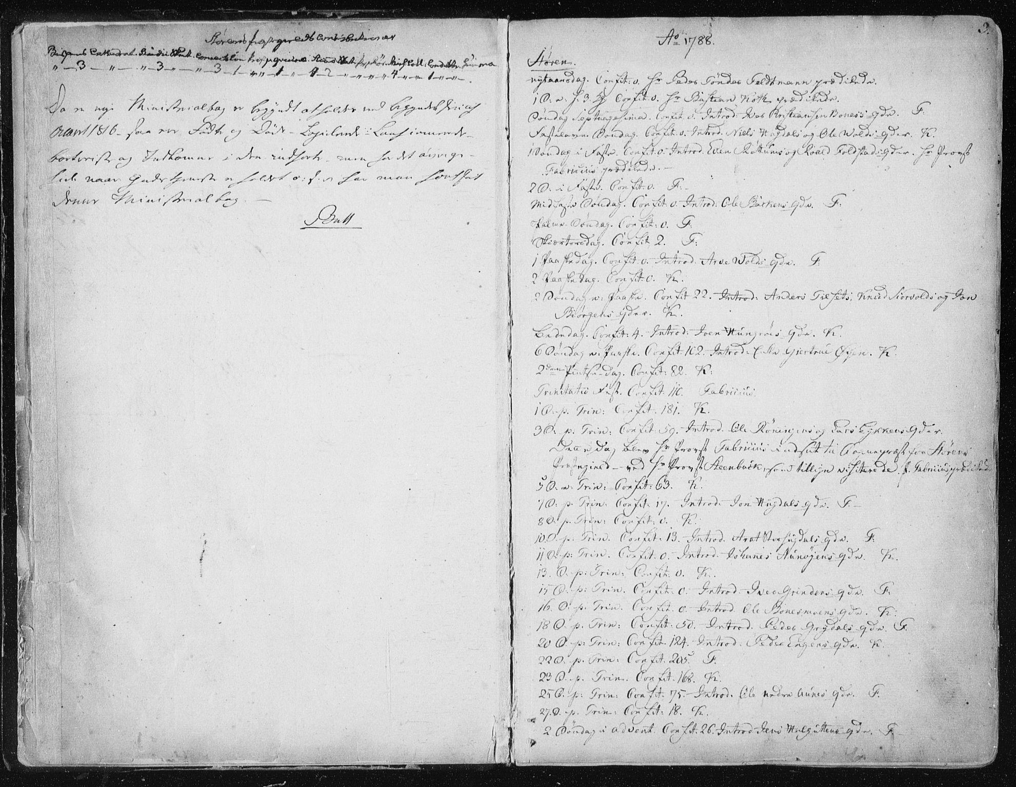 SAT, Ministerialprotokoller, klokkerbøker og fødselsregistre - Sør-Trøndelag, 687/L0992: Ministerialbok nr. 687A03 /1, 1788-1815, s. 2-3