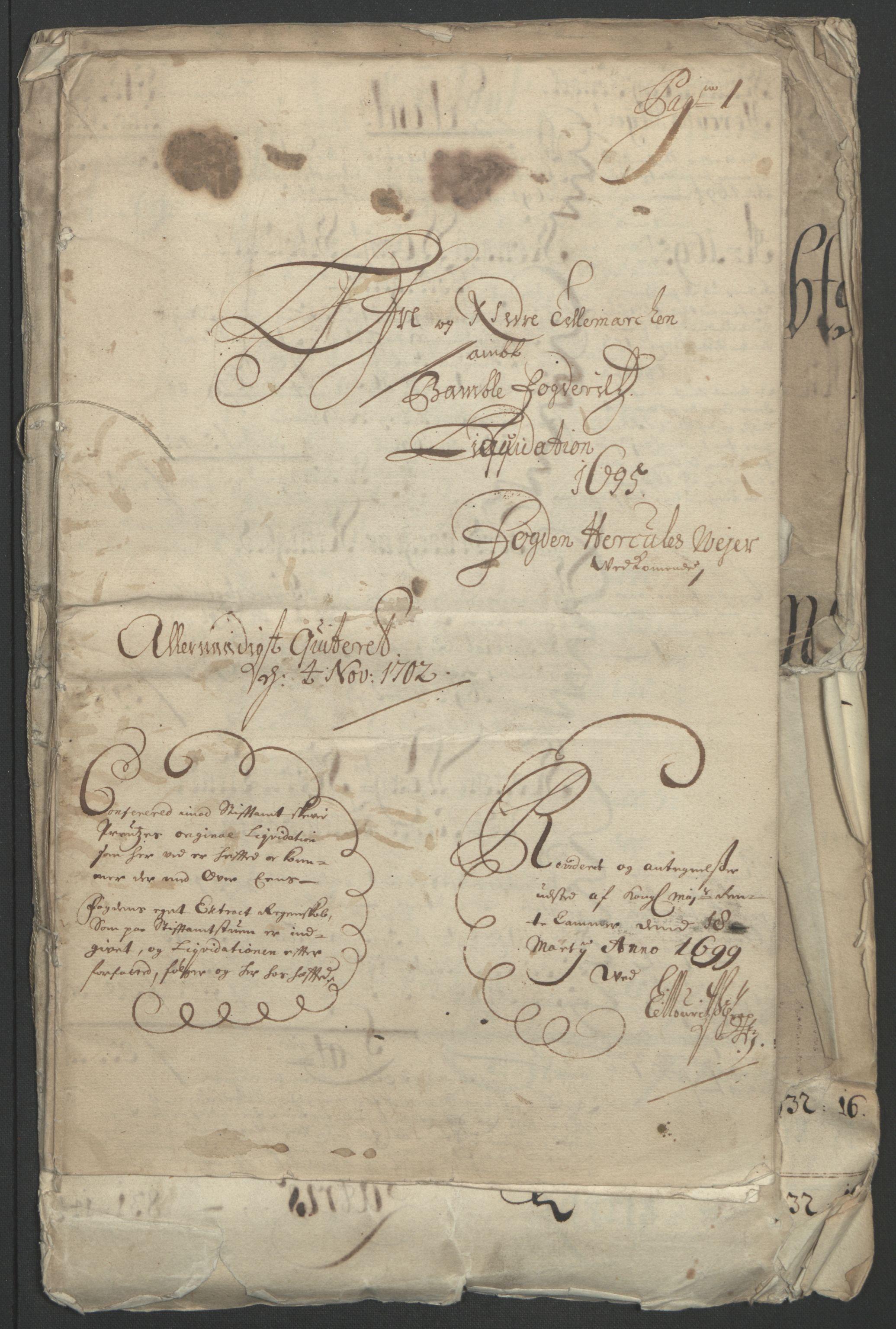 RA, Rentekammeret inntil 1814, Reviderte regnskaper, Fogderegnskap, R36/L2093: Fogderegnskap Øvre og Nedre Telemark og Bamble, 1695, s. 5