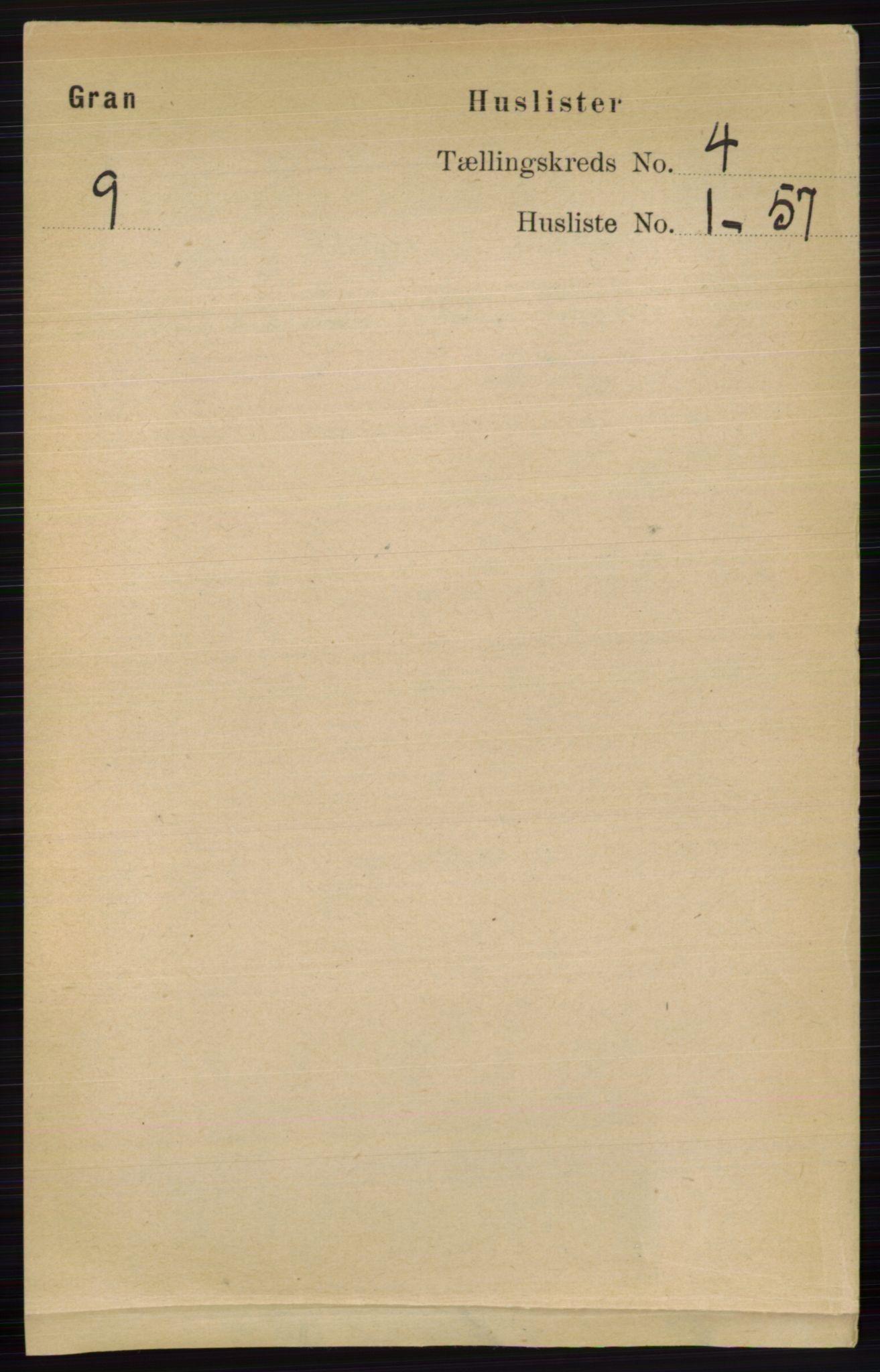 RA, Folketelling 1891 for 0534 Gran herred, 1891, s. 1091