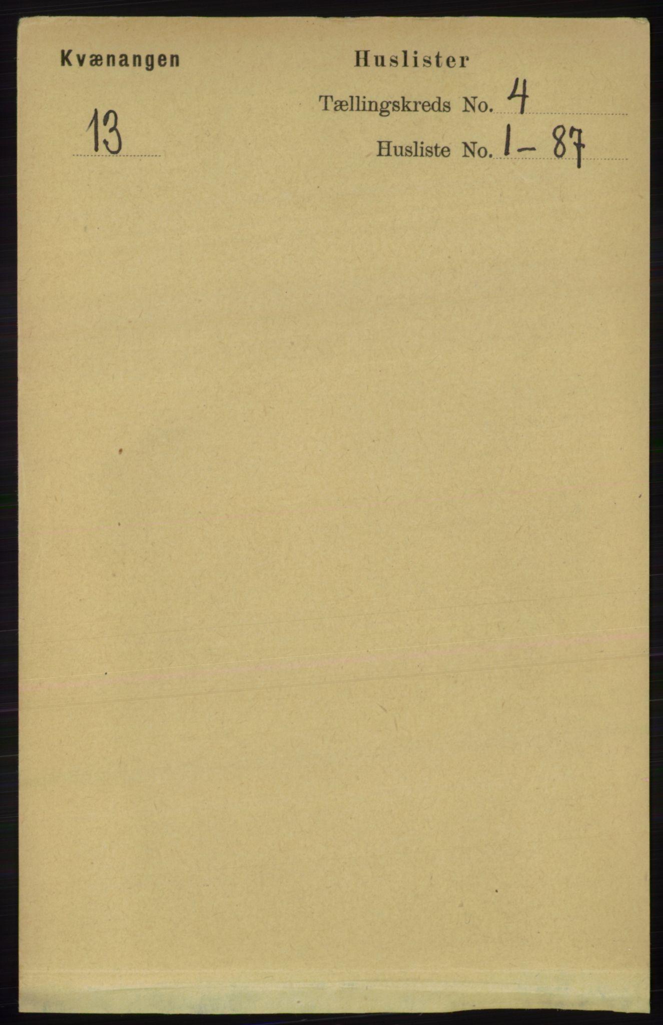 RA, Folketelling 1891 for 1943 Kvænangen herred, 1891, s. 1453