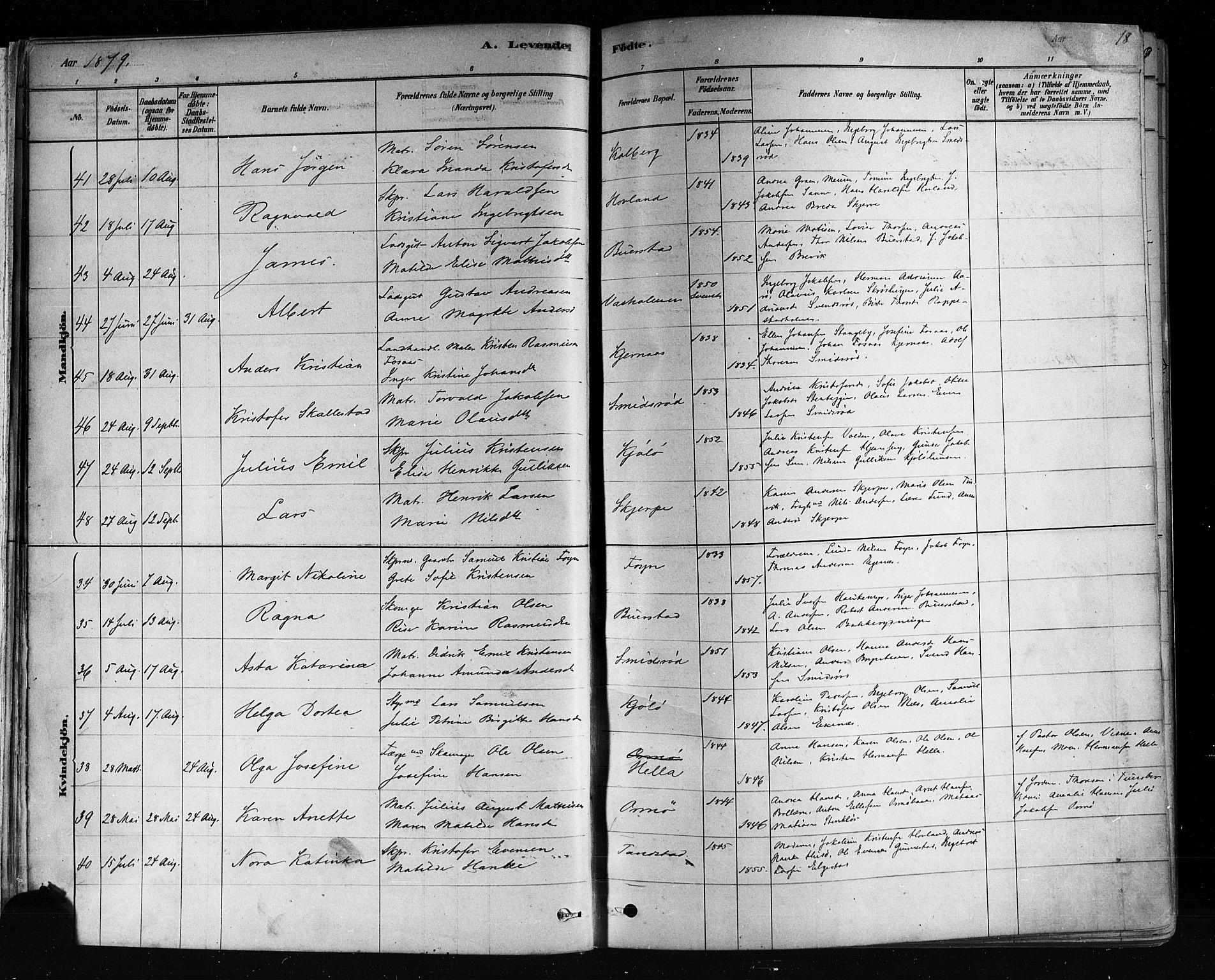 SAKO, Nøtterøy kirkebøker, F/Fa/L0008: Ministerialbok nr. I 8, 1878-1893, s. 18