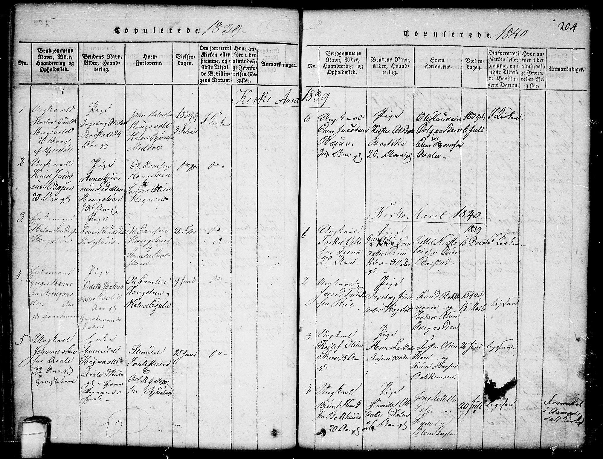 SAKO, Seljord kirkebøker, G/Gb/L0002: Klokkerbok nr. II 2, 1815-1854, s. 204