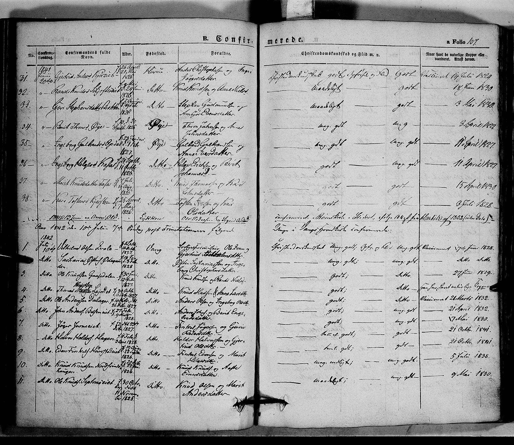 SAH, Vang prestekontor, Valdres, Ministerialbok nr. 5, 1831-1845, s. 107