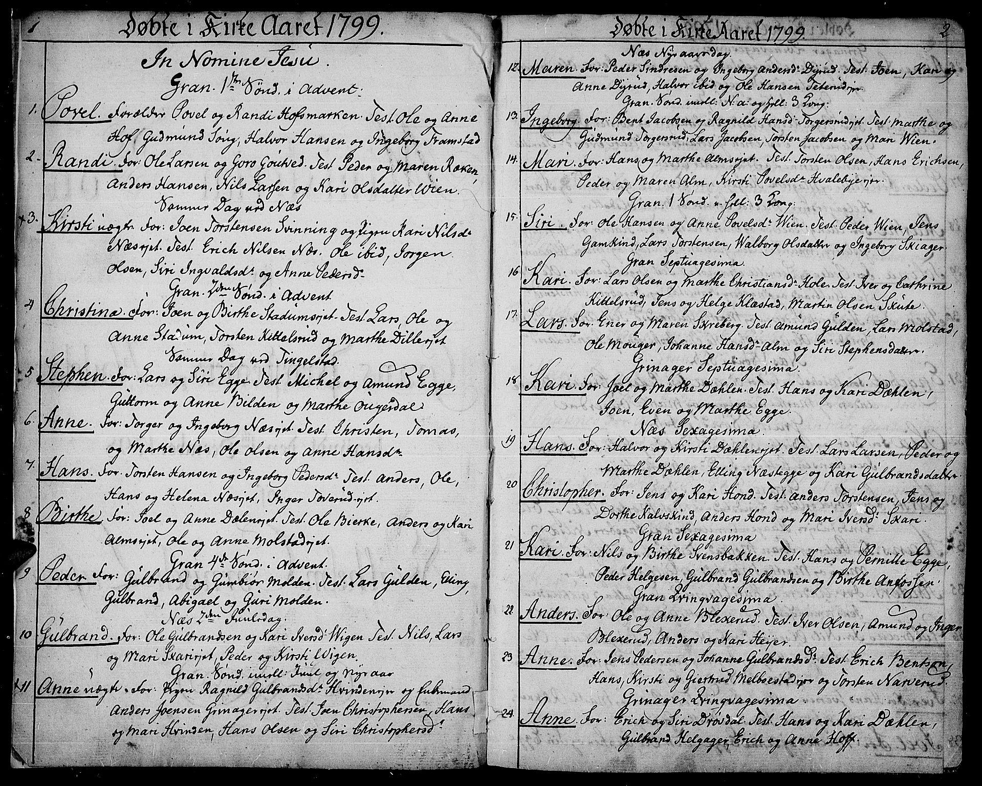 SAH, Gran prestekontor, Ministerialbok nr. 8, 1798-1811, s. 1-2