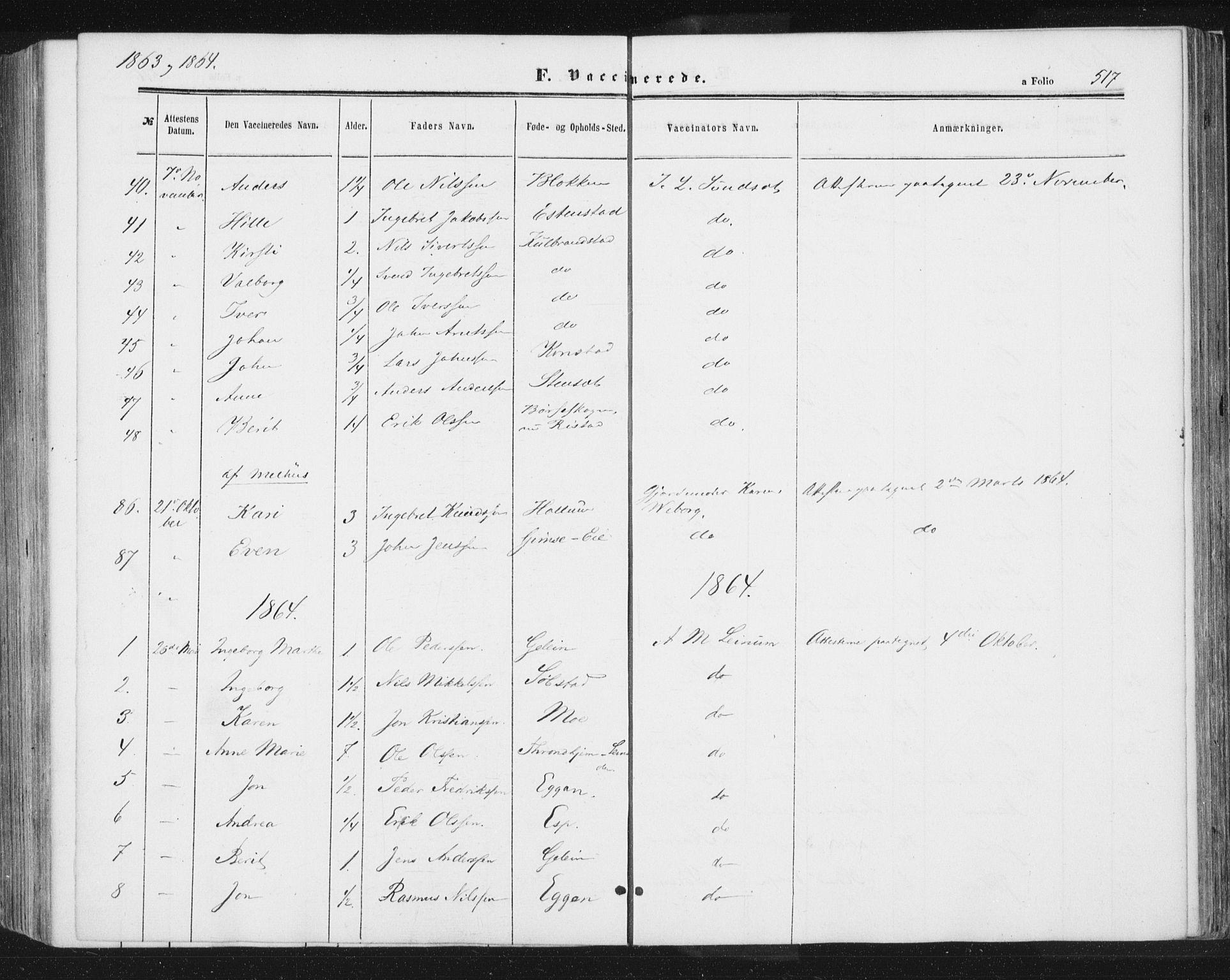 SAT, Ministerialprotokoller, klokkerbøker og fødselsregistre - Sør-Trøndelag, 691/L1077: Ministerialbok nr. 691A09, 1862-1873, s. 517