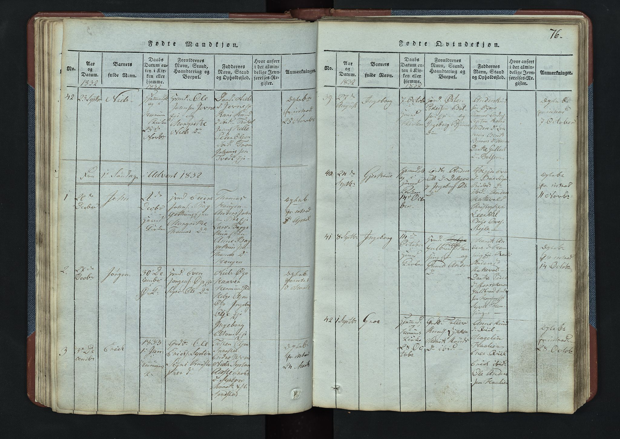 SAH, Vang prestekontor, Valdres, Klokkerbok nr. 3, 1814-1892, s. 76