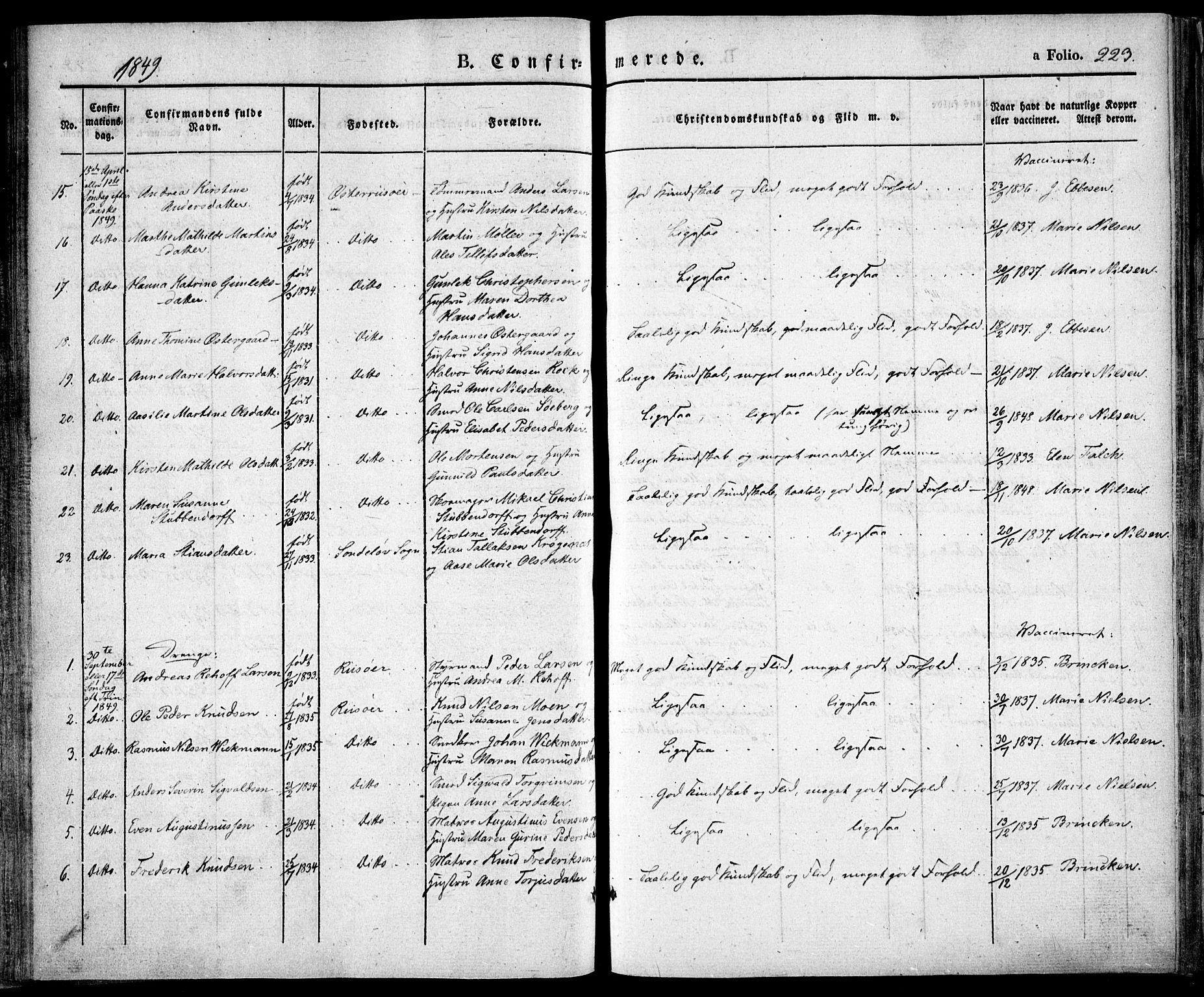 SAK, Risør sokneprestkontor, F/Fa/L0003: Ministerialbok nr. A 3, 1838-1864, s. 223