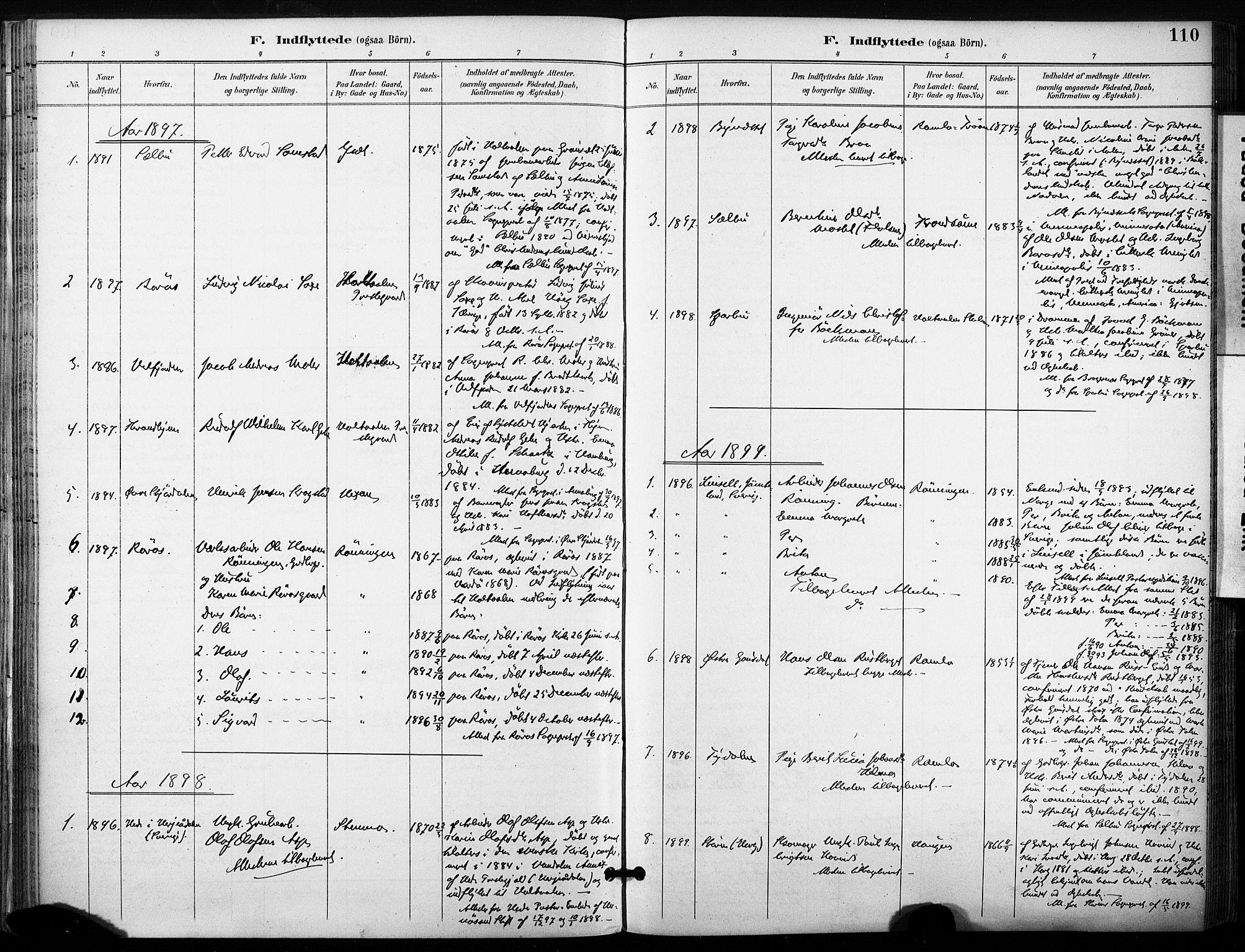 SAT, Ministerialprotokoller, klokkerbøker og fødselsregistre - Sør-Trøndelag, 685/L0973: Ministerialbok nr. 685A10, 1891-1907, s. 110
