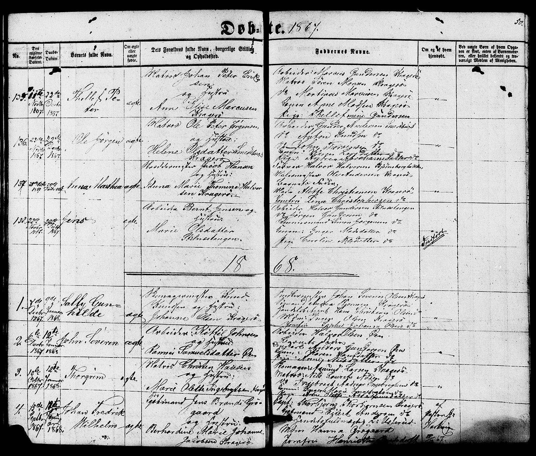 SAKO, Kragerø kirkebøker, G/Ga/L0005: Klokkerbok nr. 5, 1865-1881, s. 50