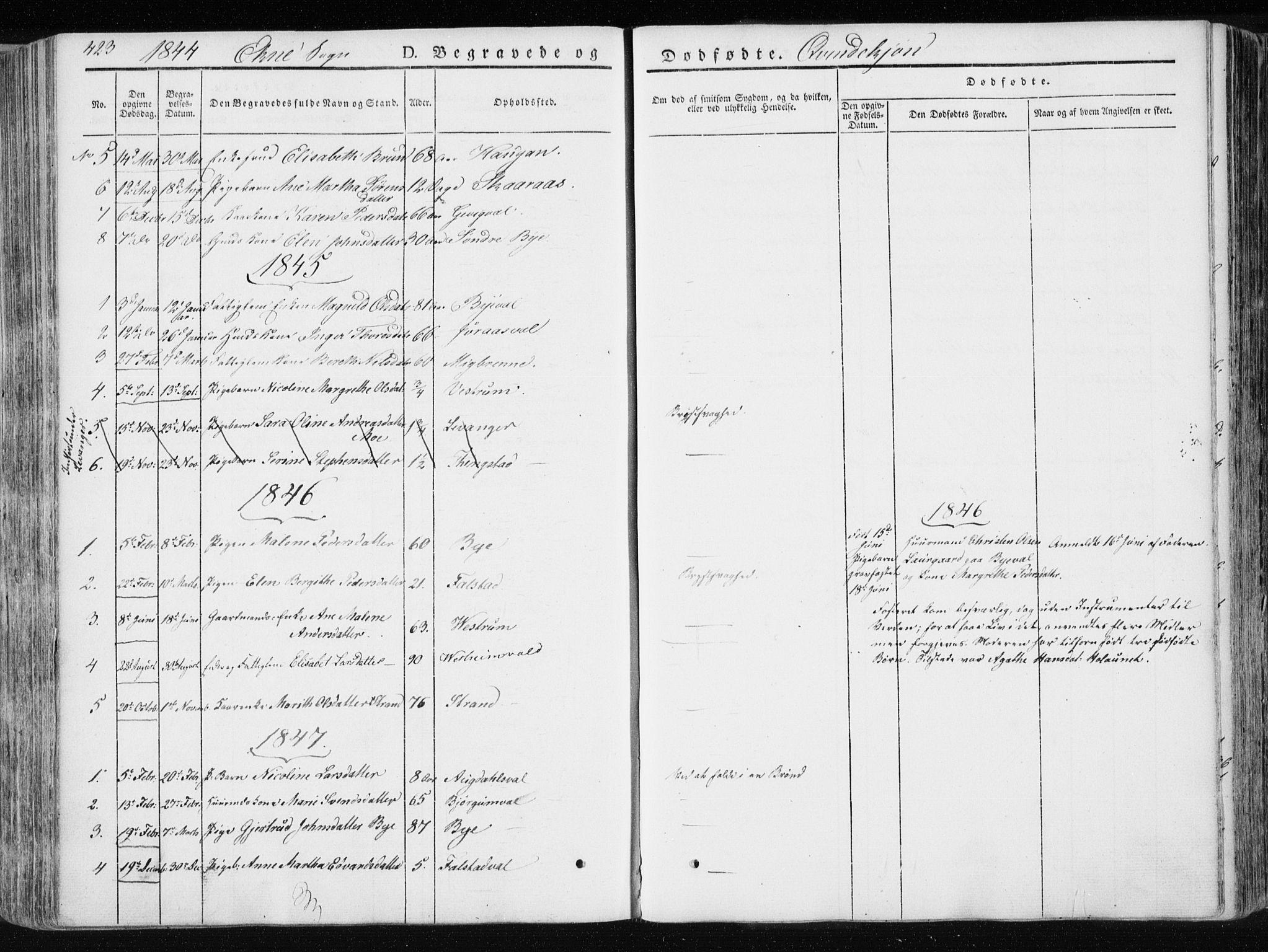 SAT, Ministerialprotokoller, klokkerbøker og fødselsregistre - Nord-Trøndelag, 717/L0154: Ministerialbok nr. 717A06 /2, 1836-1849, s. 423