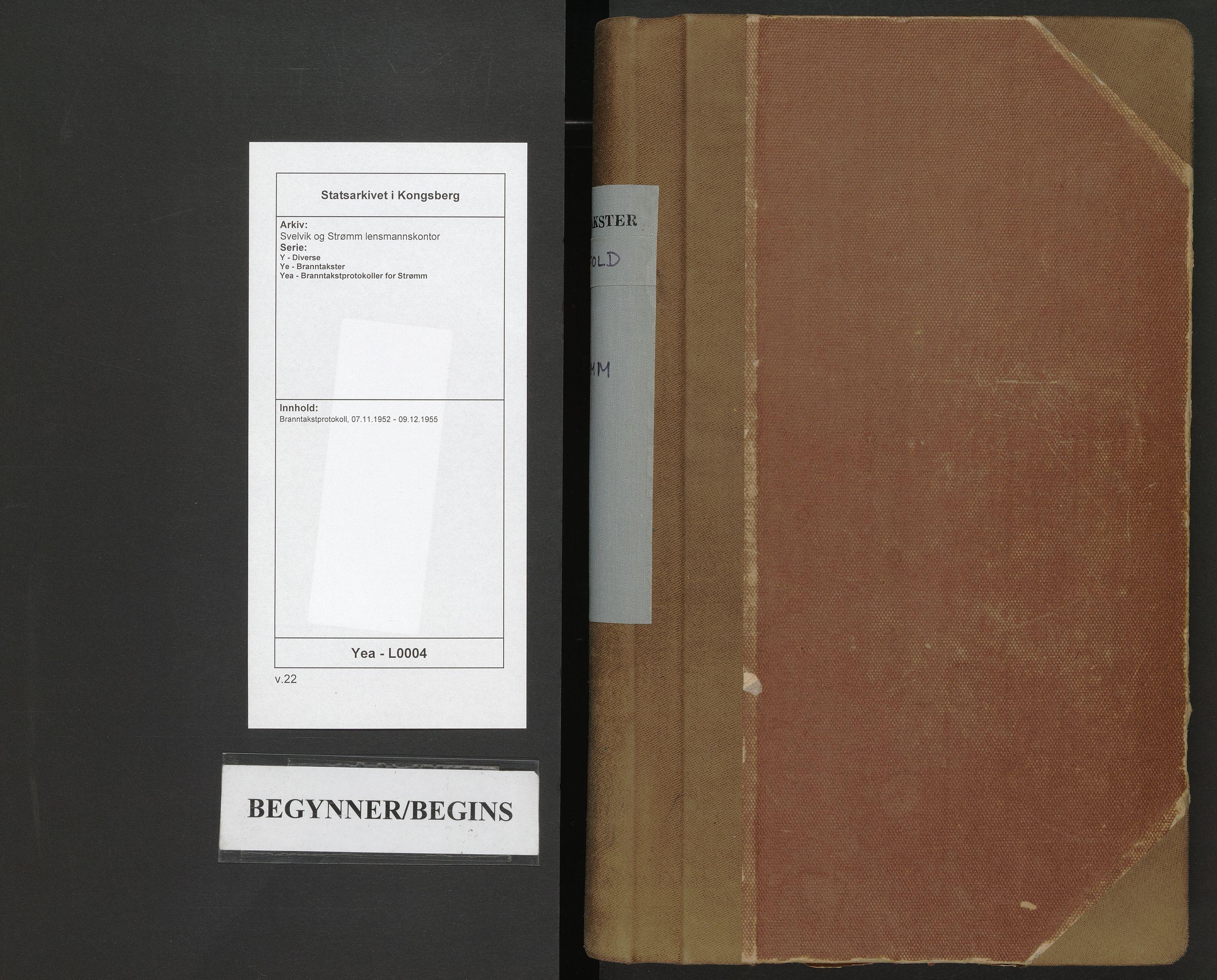 SAKO, Svelvik og Strømm lensmannskontor, Y/Ye/Yea/L0004: Branntakstprotokoll, 1952-1955