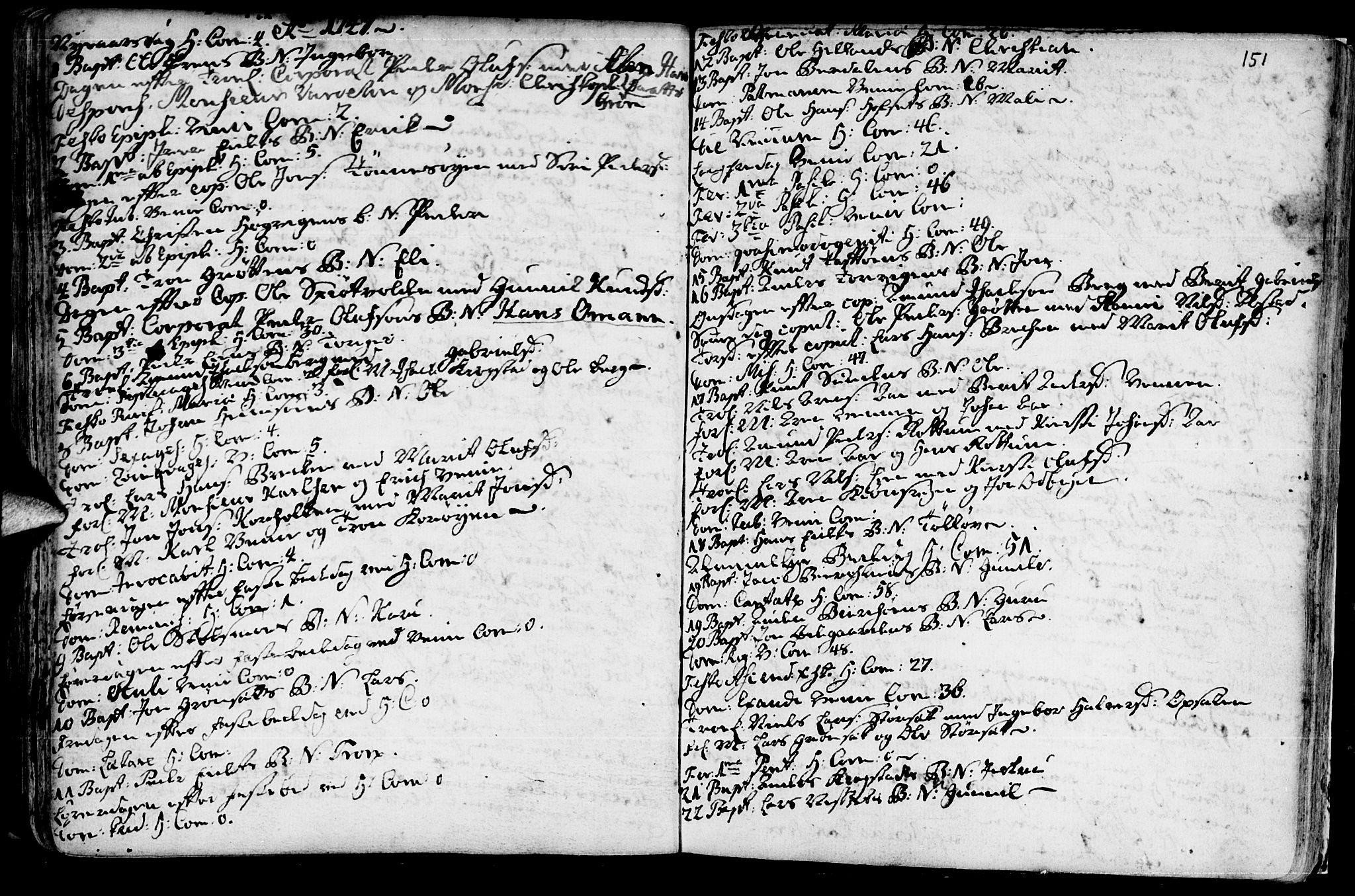SAT, Ministerialprotokoller, klokkerbøker og fødselsregistre - Sør-Trøndelag, 630/L0488: Ministerialbok nr. 630A01, 1717-1756, s. 150-151