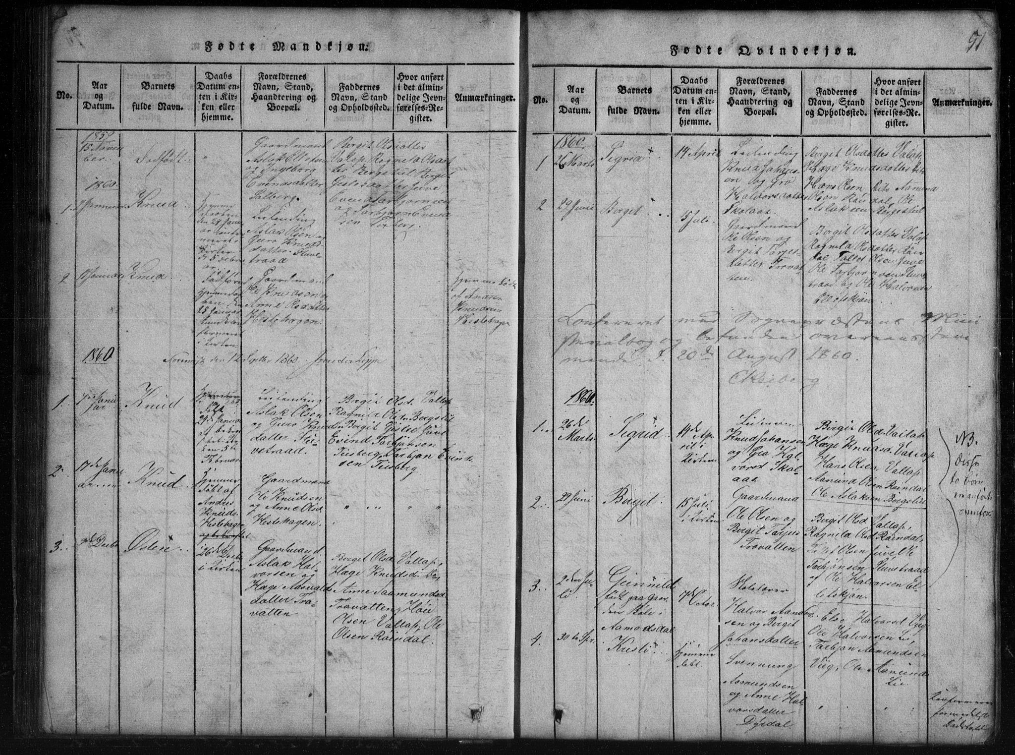 SAKO, Rauland kirkebøker, G/Gb/L0001: Klokkerbok nr. II 1, 1815-1886, s. 51
