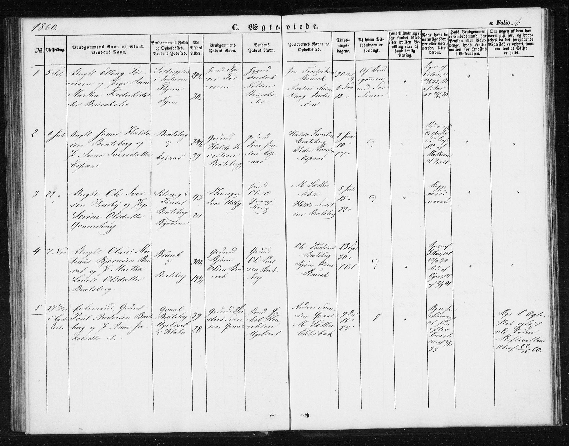 SAT, Ministerialprotokoller, klokkerbøker og fødselsregistre - Sør-Trøndelag, 608/L0332: Ministerialbok nr. 608A01, 1848-1861, s. 56