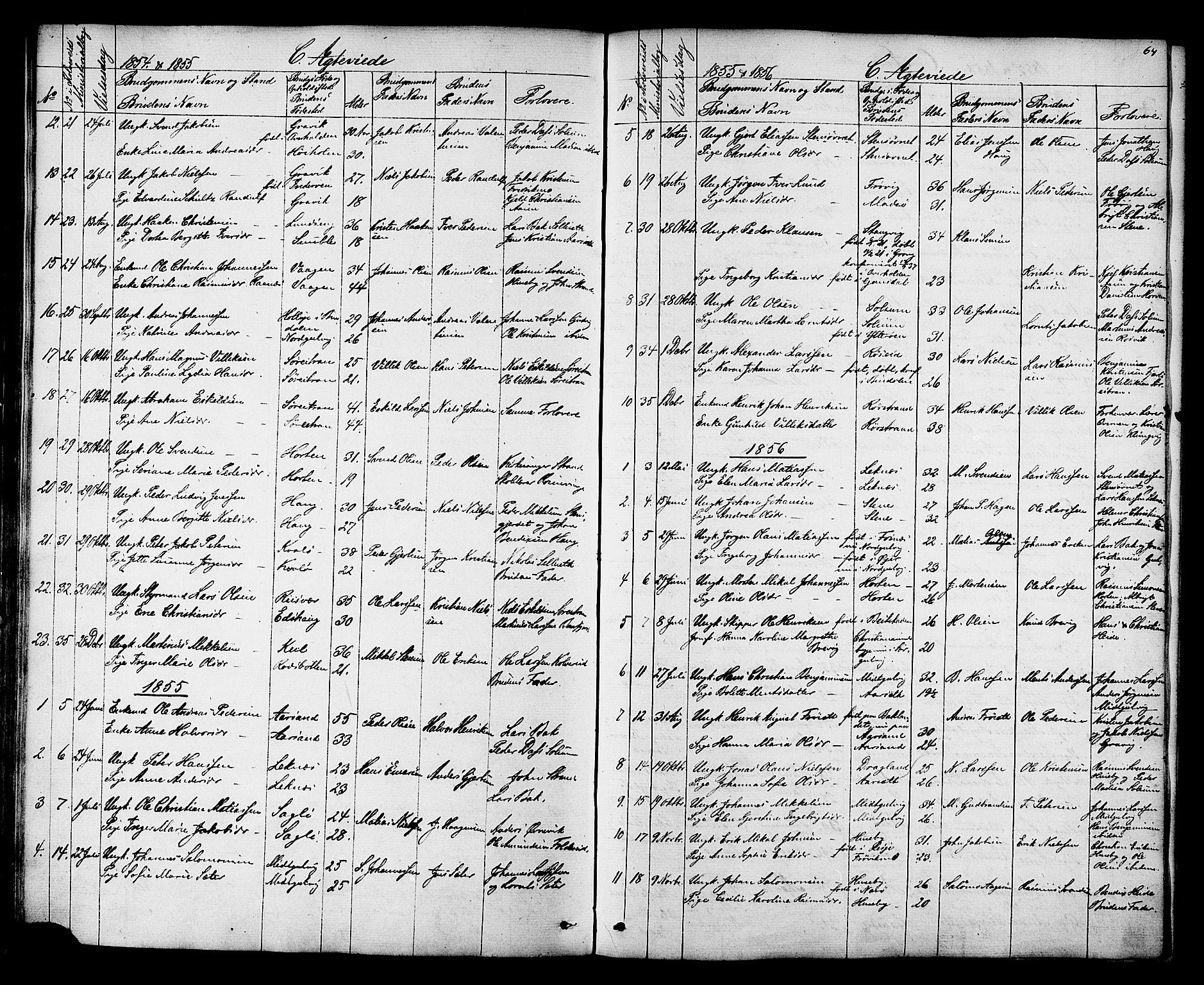 SAT, Ministerialprotokoller, klokkerbøker og fødselsregistre - Nord-Trøndelag, 788/L0695: Ministerialbok nr. 788A02, 1843-1862, s. 64