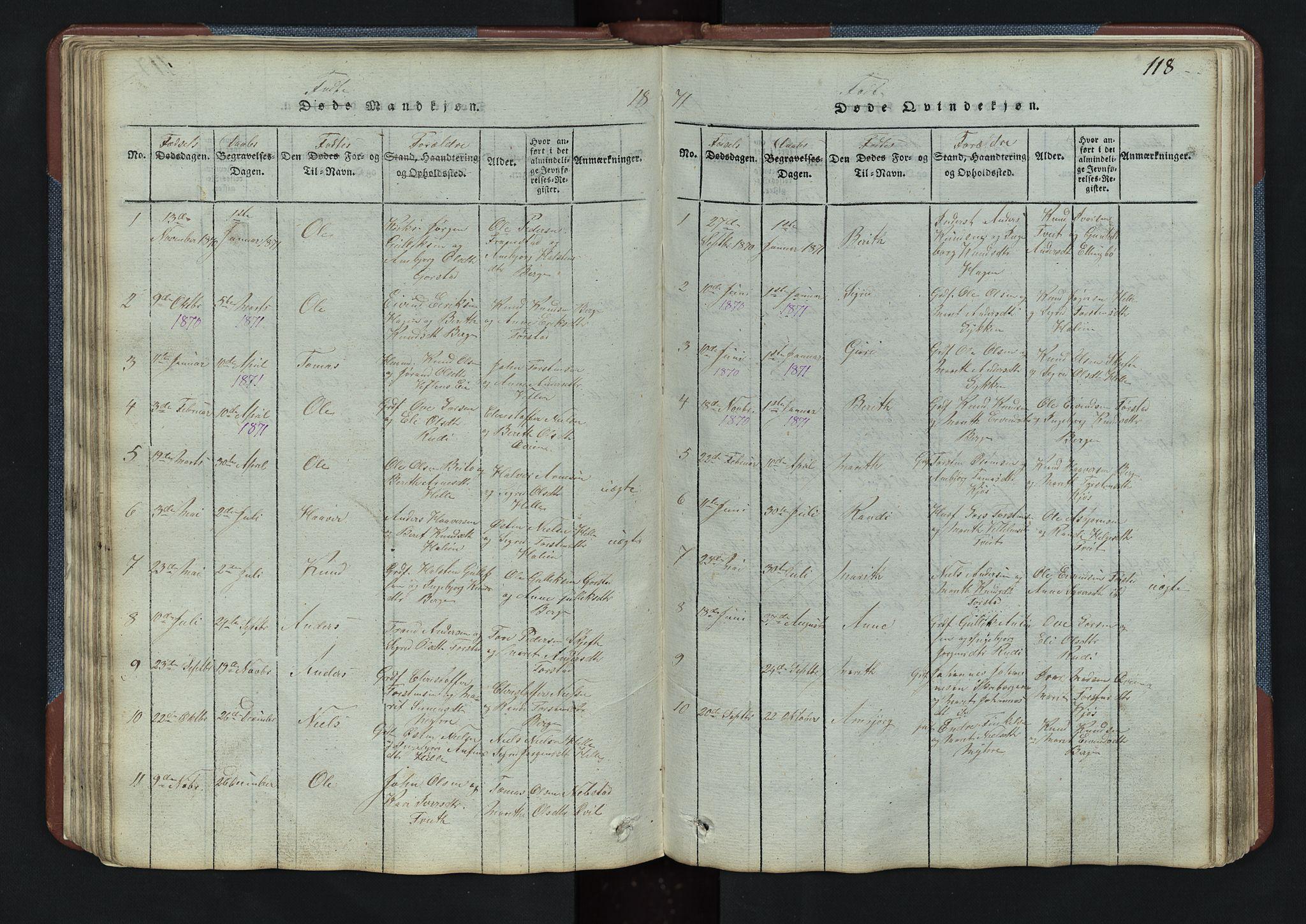 SAH, Vang prestekontor, Valdres, Klokkerbok nr. 3, 1814-1892, s. 118