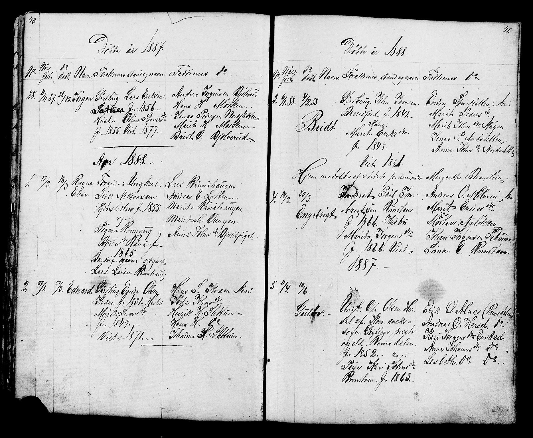 SAH, Lesja prestekontor, Klokkerbok nr. 6, 1871-1904, s. 40-41