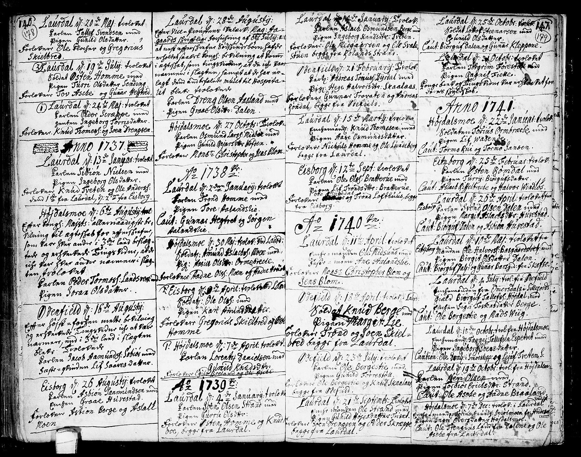 SAKO, Lårdal kirkebøker, F/Fa/L0002: Ministerialbok nr. I 2, 1734-1754, s. 178-179