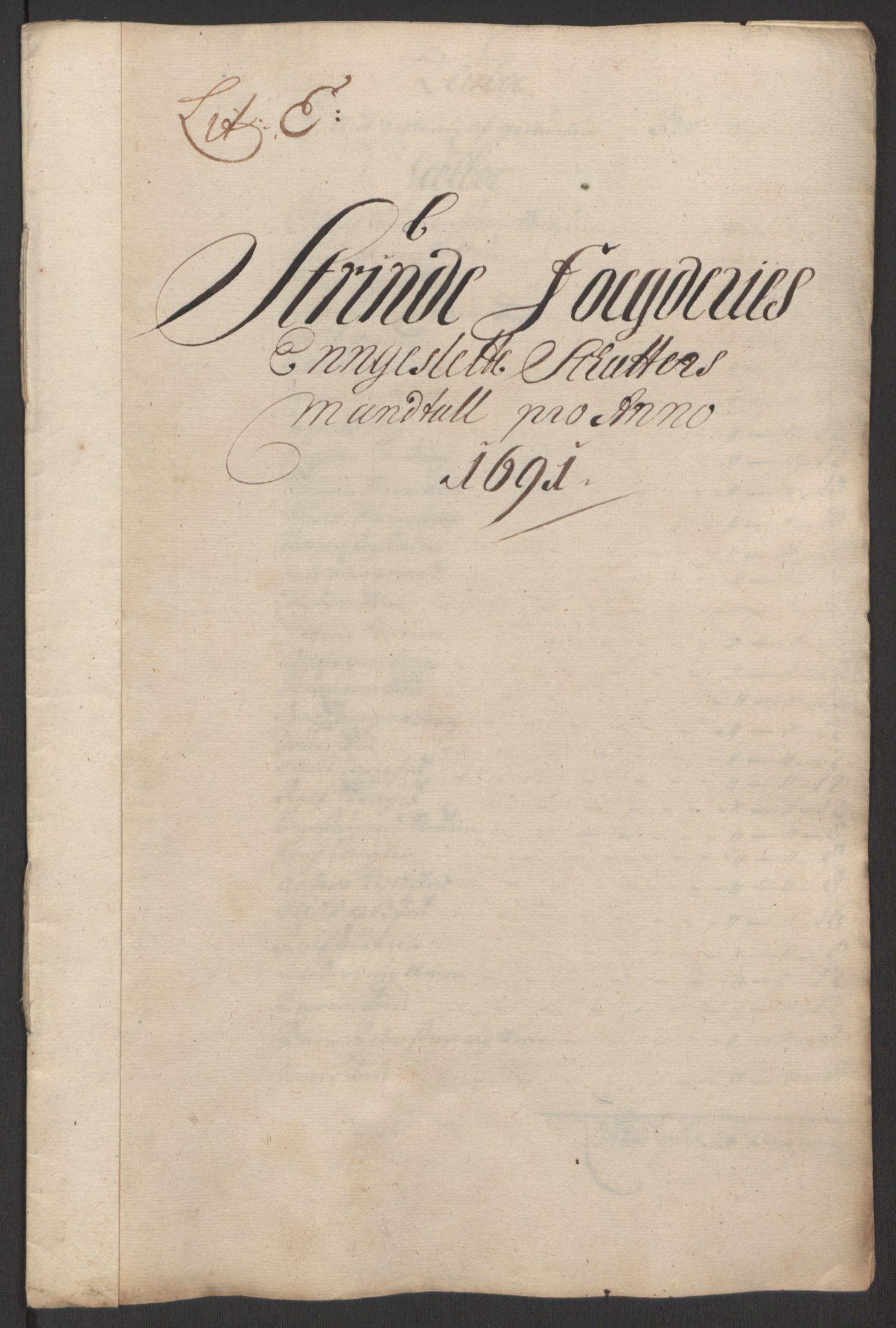 RA, Rentekammeret inntil 1814, Reviderte regnskaper, Fogderegnskap, R61/L4103: Fogderegnskap Strinda og Selbu, 1691-1692, s. 62