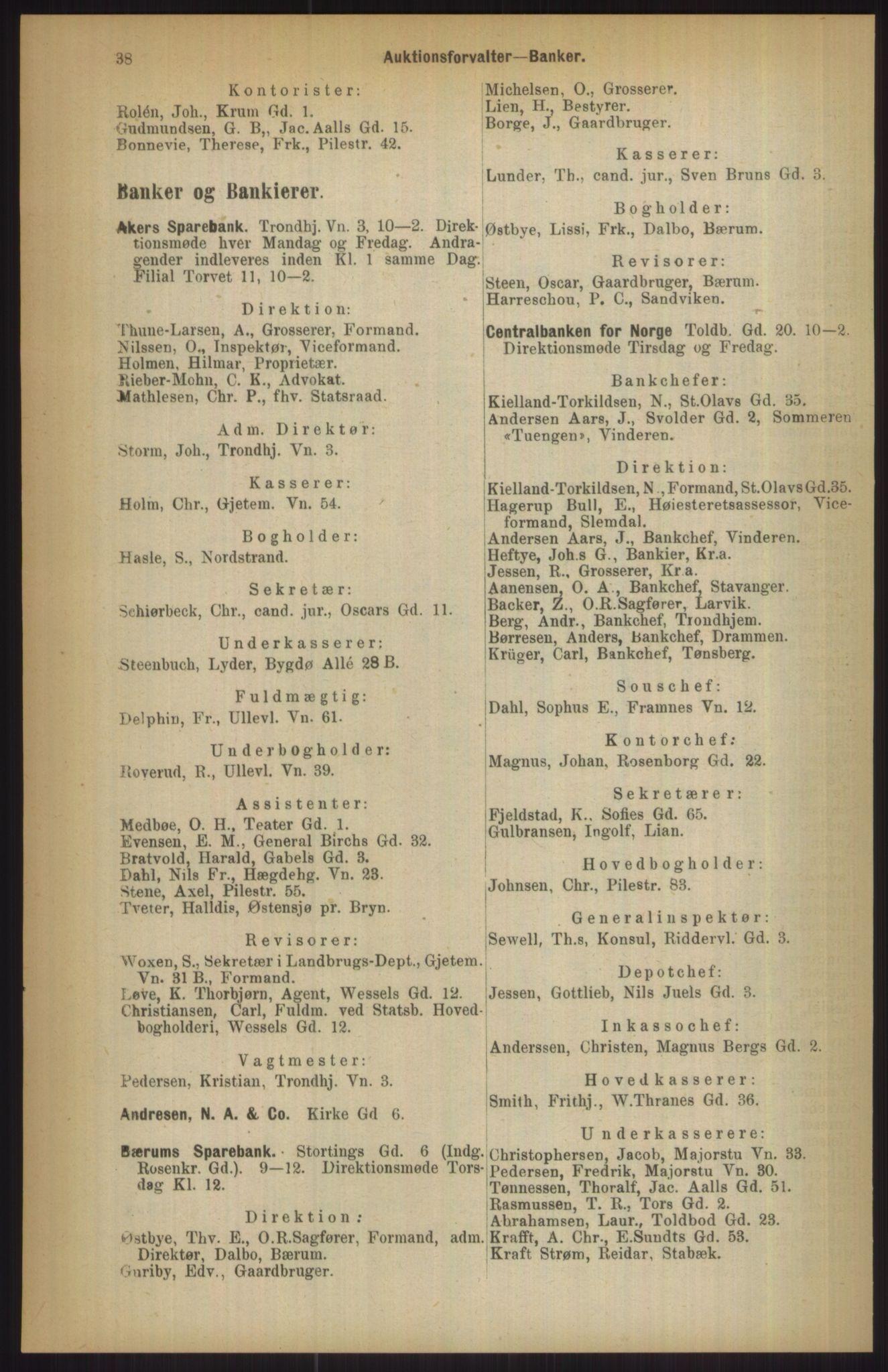 RA, Kristiania adressebok (publikasjon)*, 1911, s. 38