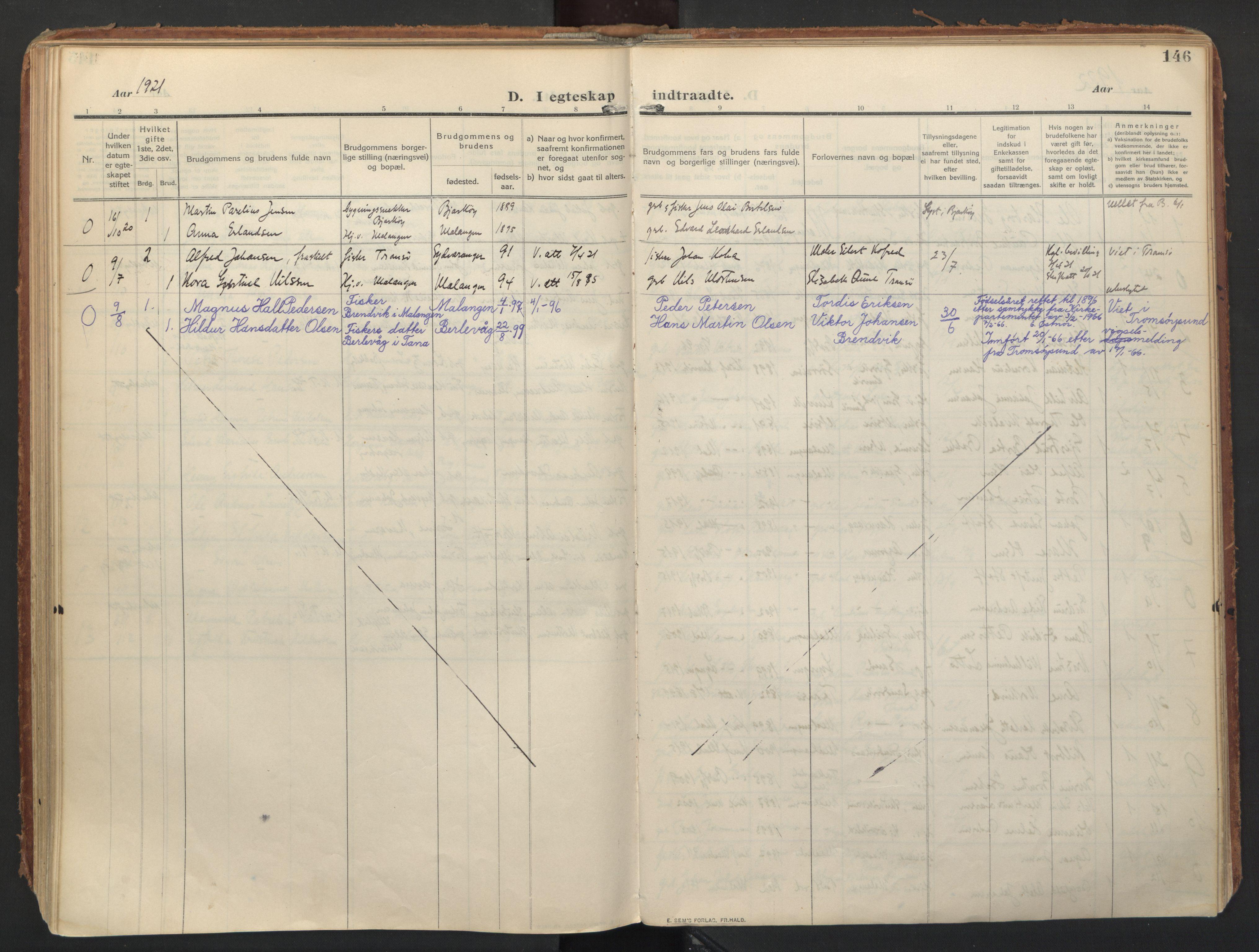 SATØ, Balsfjord sokneprestembete, Ministerialbok nr. 8, 1910-1927, s. 146