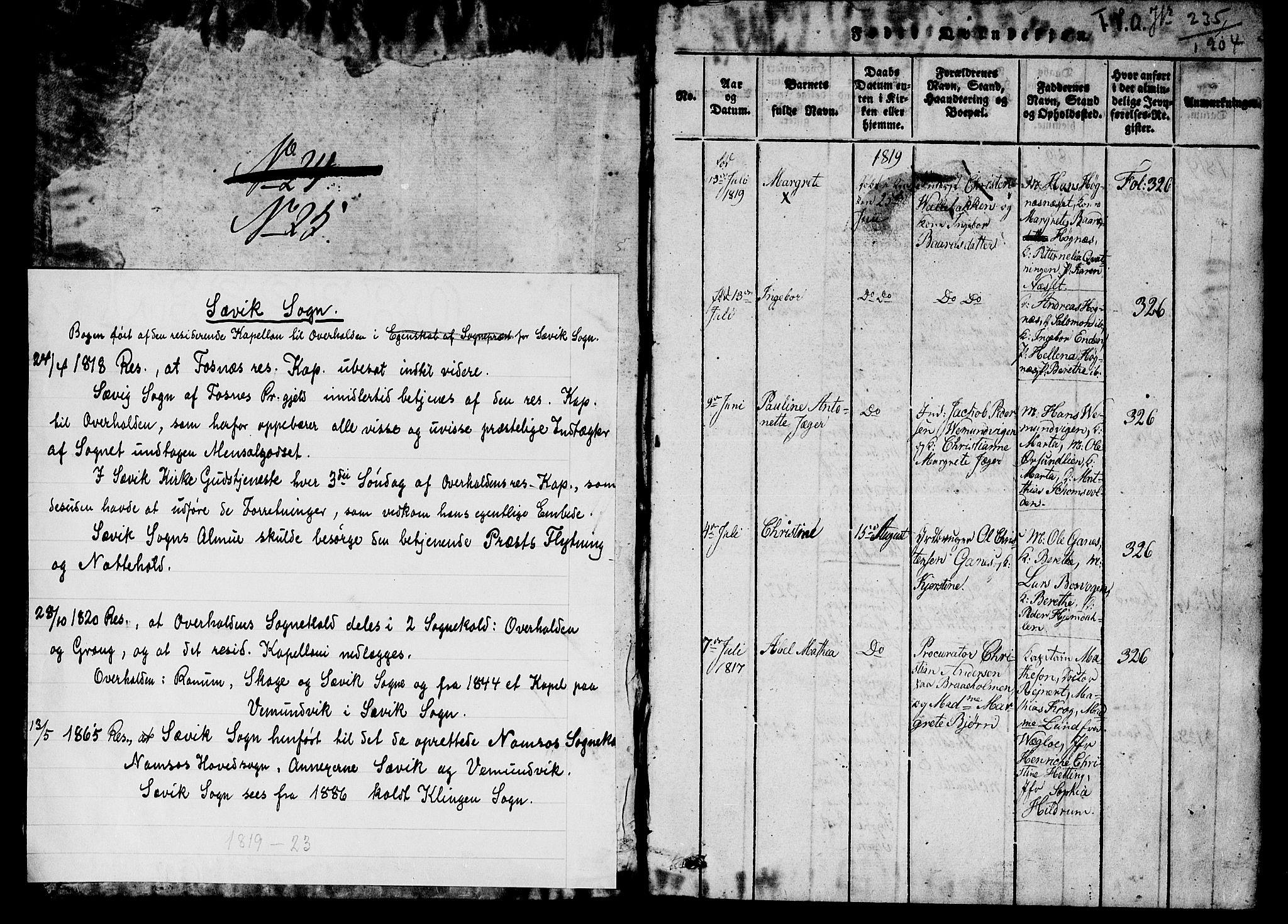 SAT, Ministerialprotokoller, klokkerbøker og fødselsregistre - Nord-Trøndelag, 770/L0588: Ministerialbok nr. 770A02, 1819-1823, s. 1