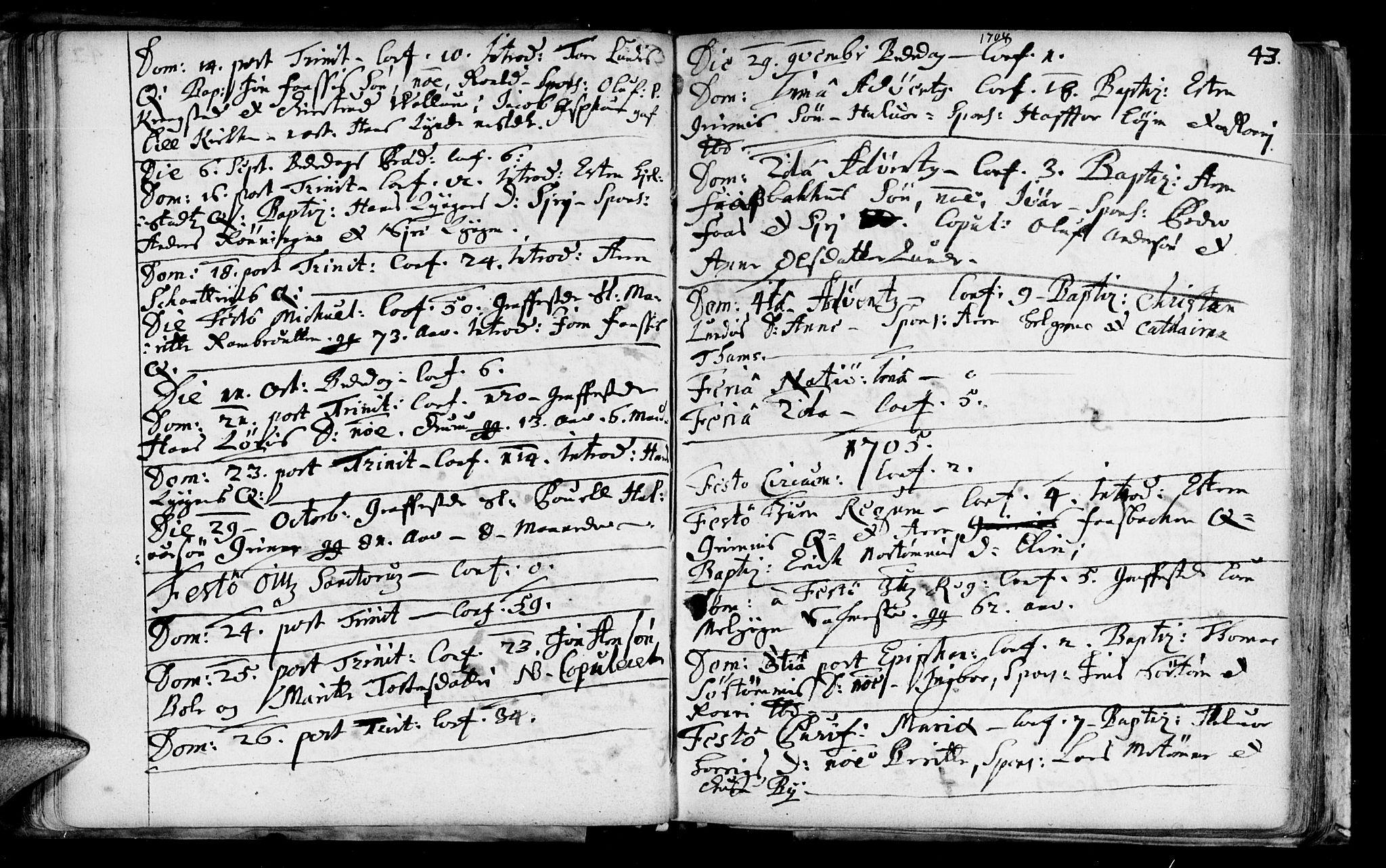 SAT, Ministerialprotokoller, klokkerbøker og fødselsregistre - Sør-Trøndelag, 692/L1101: Ministerialbok nr. 692A01, 1690-1746, s. 43