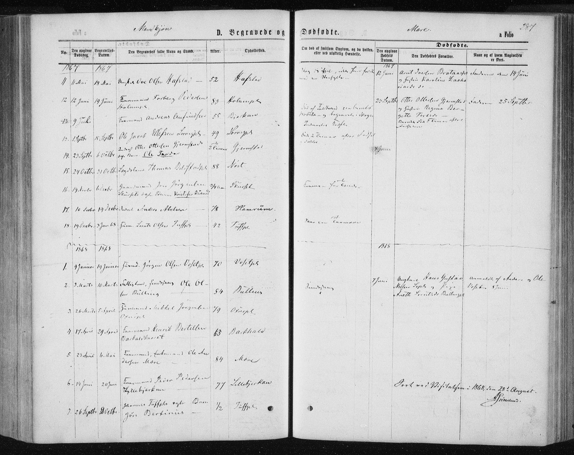 SAT, Ministerialprotokoller, klokkerbøker og fødselsregistre - Nord-Trøndelag, 735/L0345: Ministerialbok nr. 735A08 /1, 1863-1872, s. 287