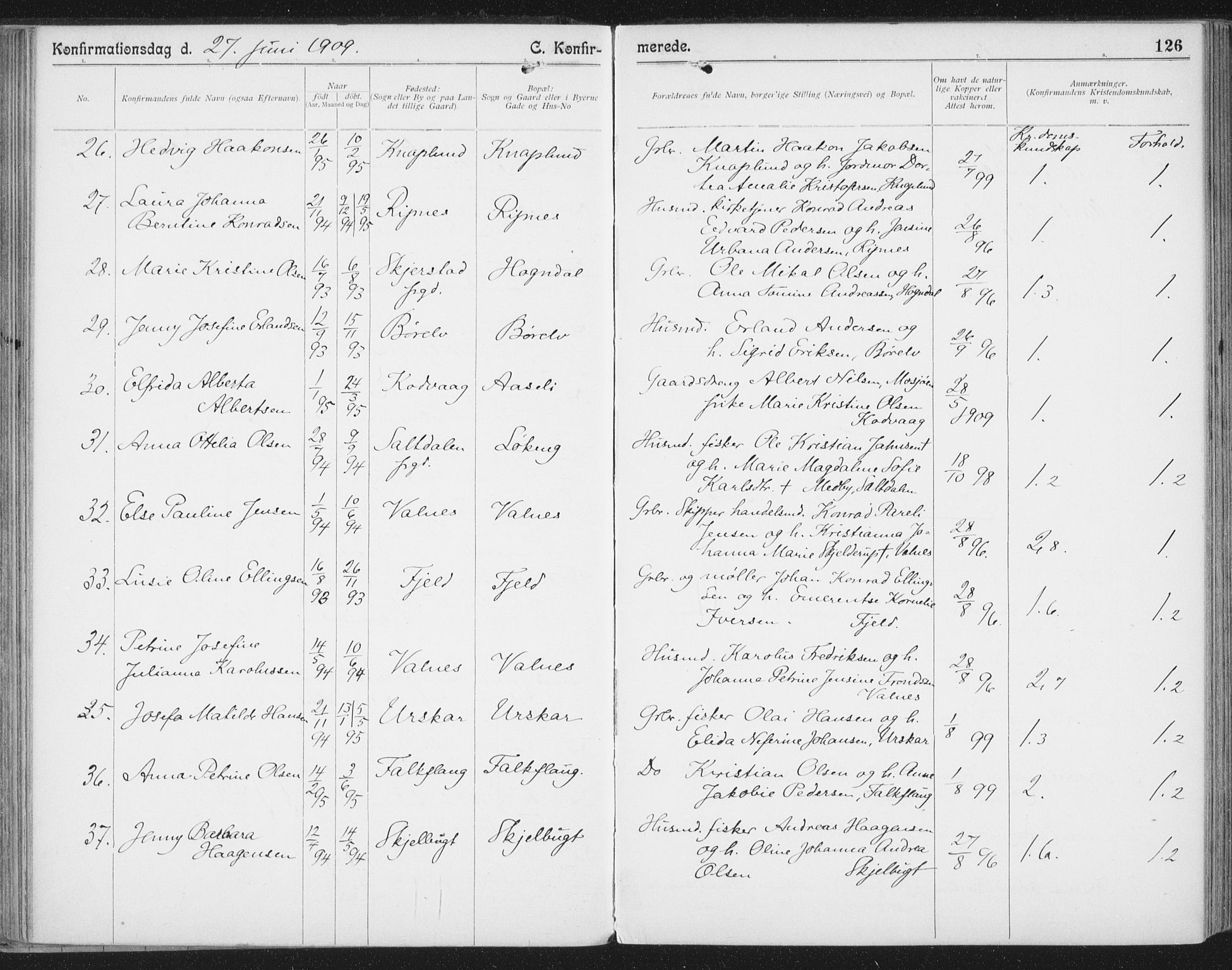 SAT, Ministerialprotokoller, klokkerbøker og fødselsregistre - Nordland, 804/L0081: Ministerialbok nr. 804A02, 1901-1915, s. 126