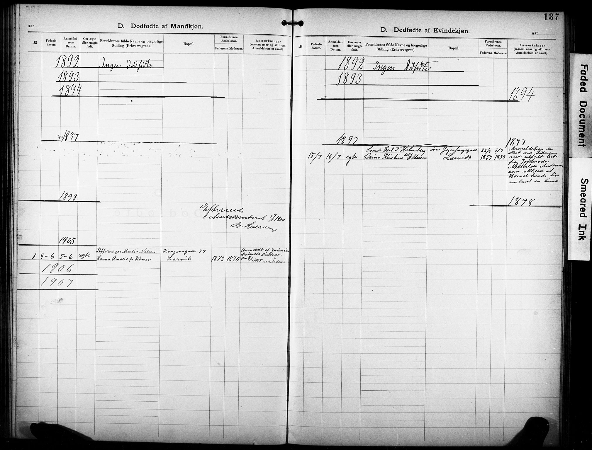 SAKO, Den katolsk-apostoliske menighet i Larvik, F/Fa/L0001: Dissenterprotokoll nr. 1, 1892-1933, s. 137
