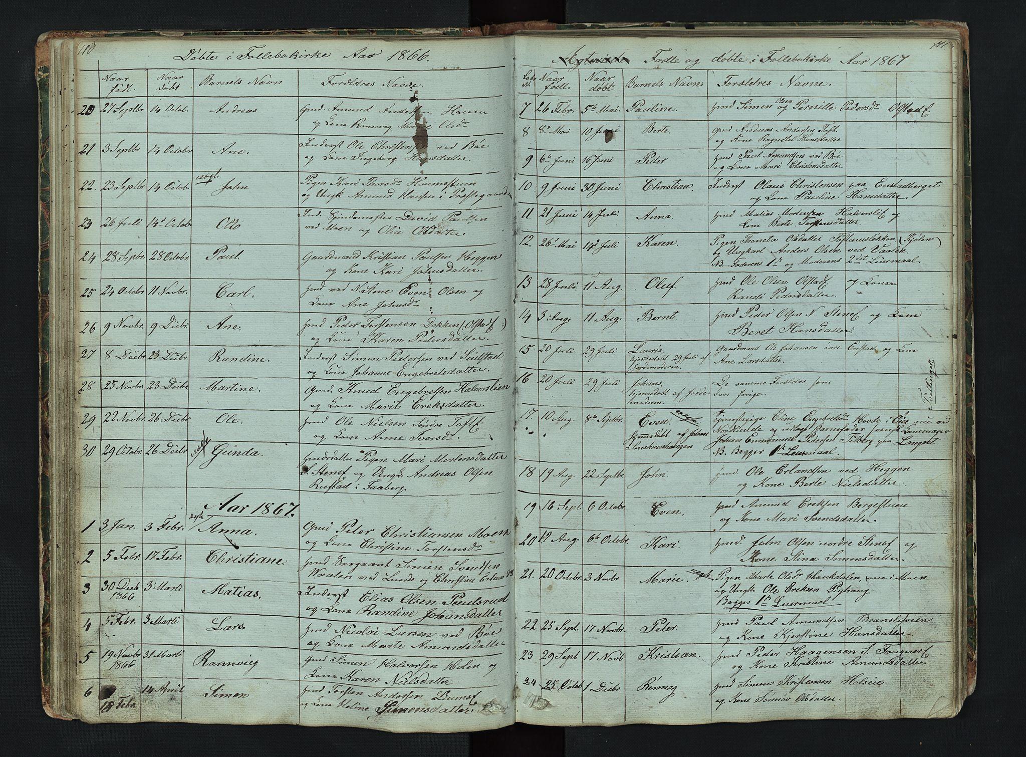 SAH, Gausdal prestekontor, Klokkerbok nr. 6, 1846-1893, s. 110-111