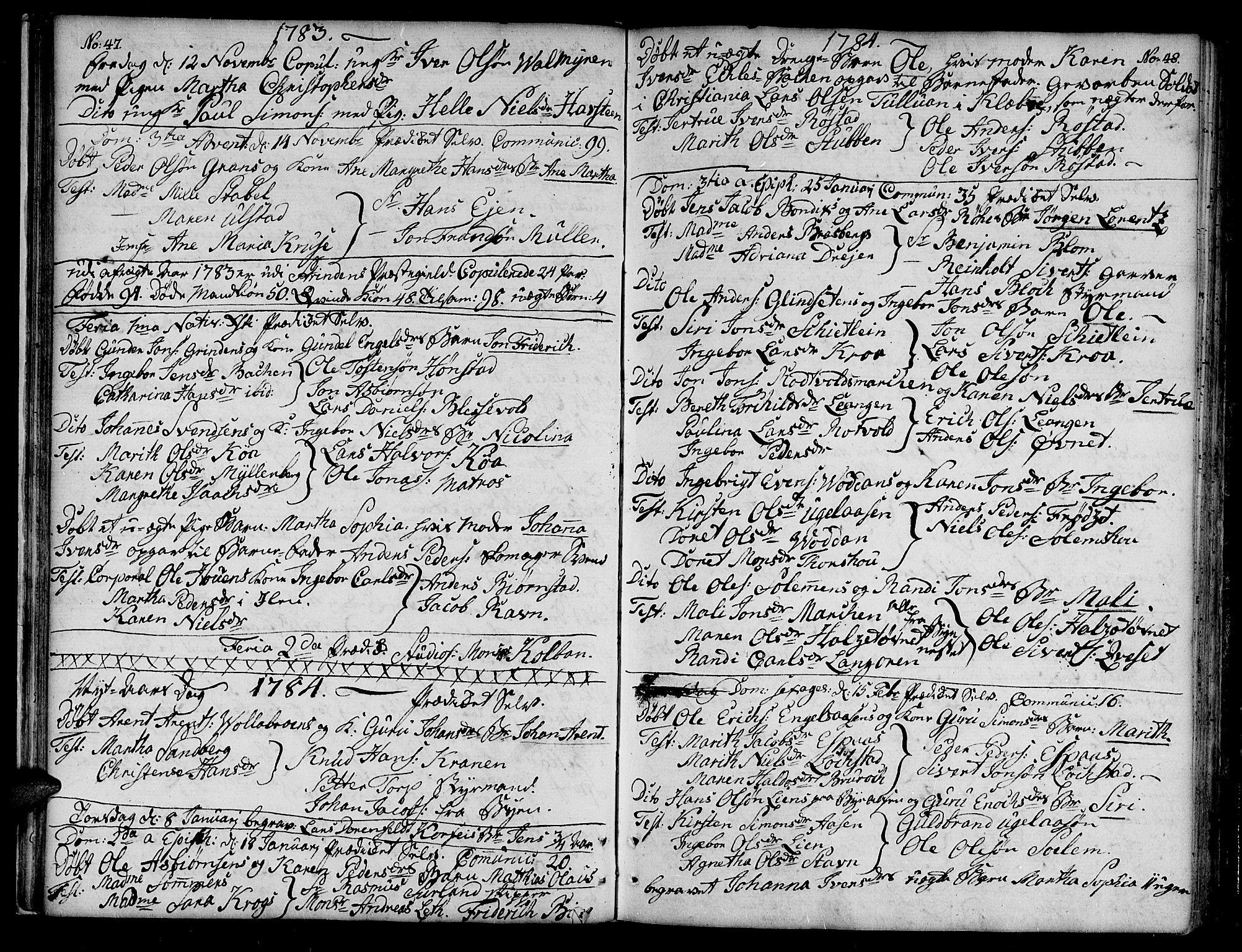 SAT, Ministerialprotokoller, klokkerbøker og fødselsregistre - Sør-Trøndelag, 604/L0180: Ministerialbok nr. 604A01, 1780-1797, s. 47-48