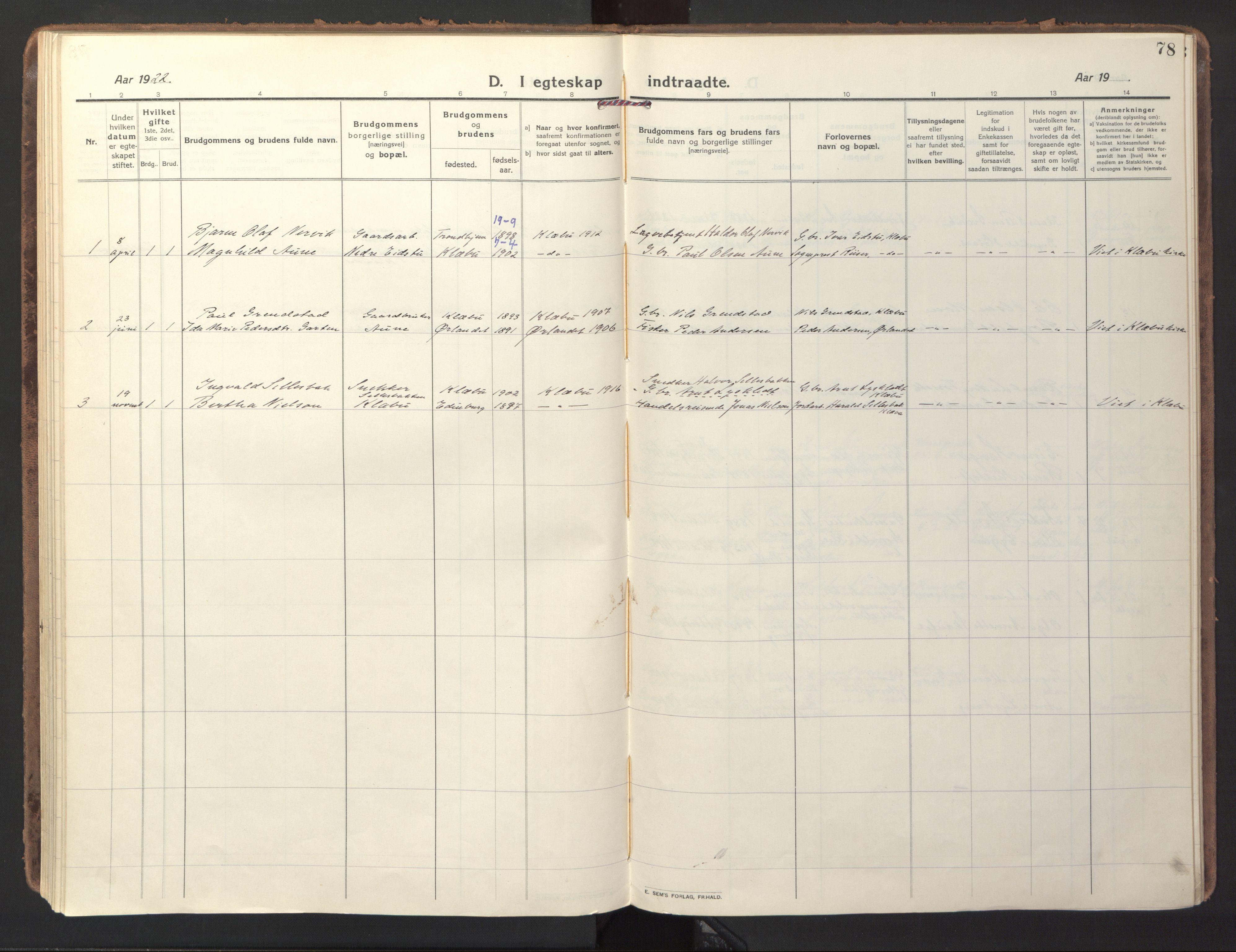 SAT, Ministerialprotokoller, klokkerbøker og fødselsregistre - Sør-Trøndelag, 618/L0449: Ministerialbok nr. 618A12, 1917-1924, s. 78