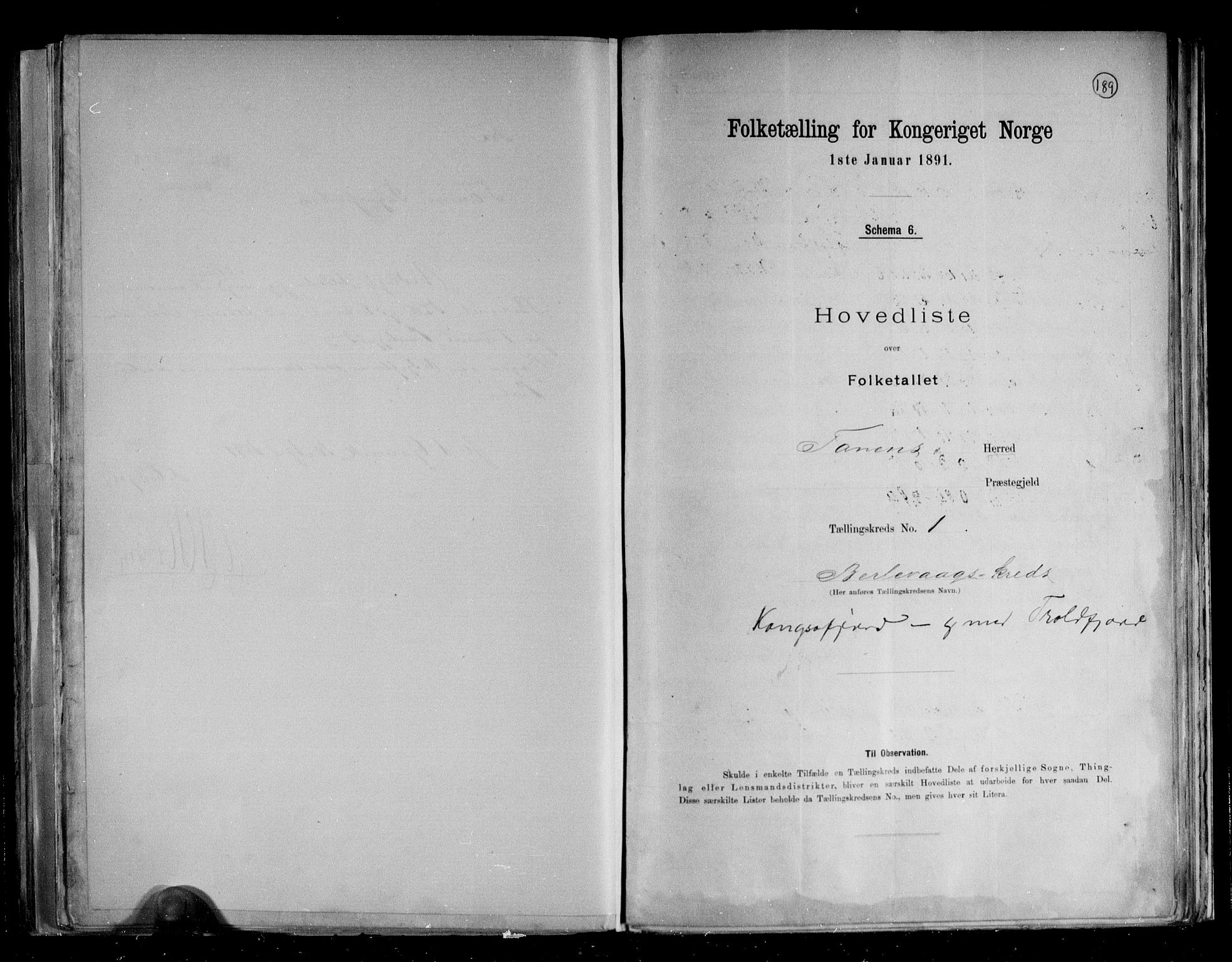 RA, Folketelling 1891 for 2025 Tana herred, 1891, s. 5