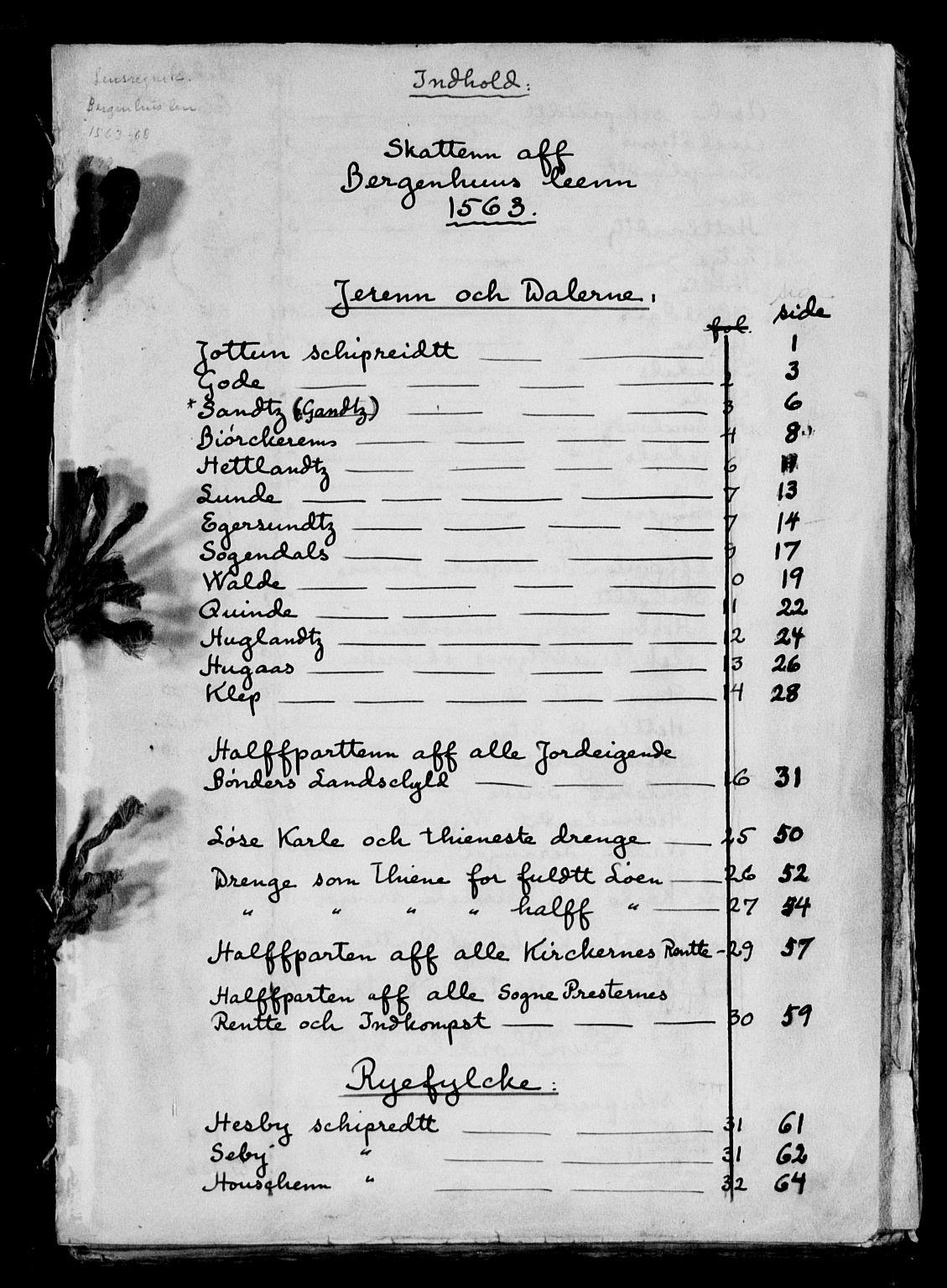 RA, Rentekammeret inntil 1814, Reviderte regnskaper, Lensregnskaper, R/Ra/L0012: Bergenhus len, 1563