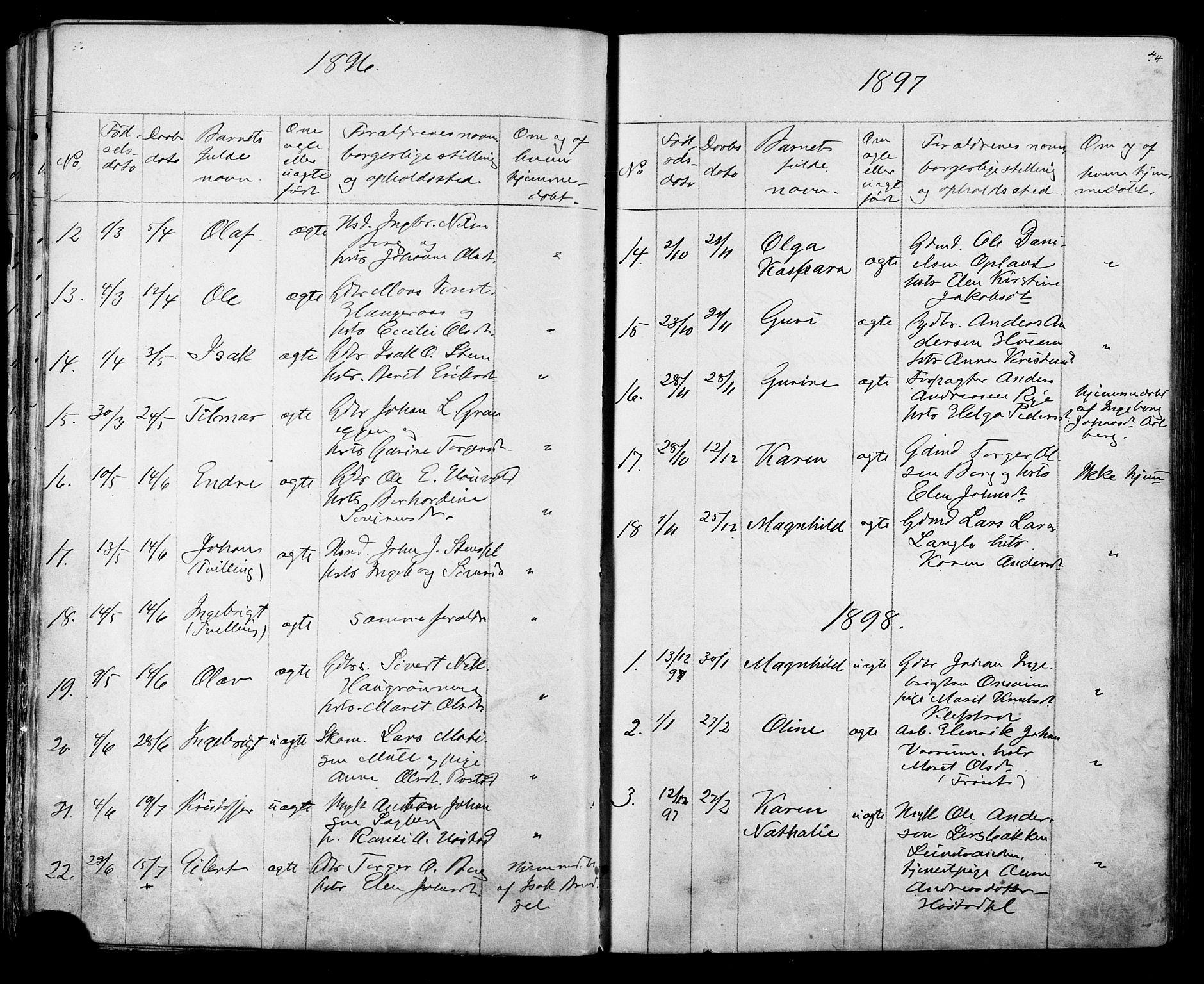 SAT, Ministerialprotokoller, klokkerbøker og fødselsregistre - Sør-Trøndelag, 612/L0387: Klokkerbok nr. 612C03, 1874-1908, s. 44