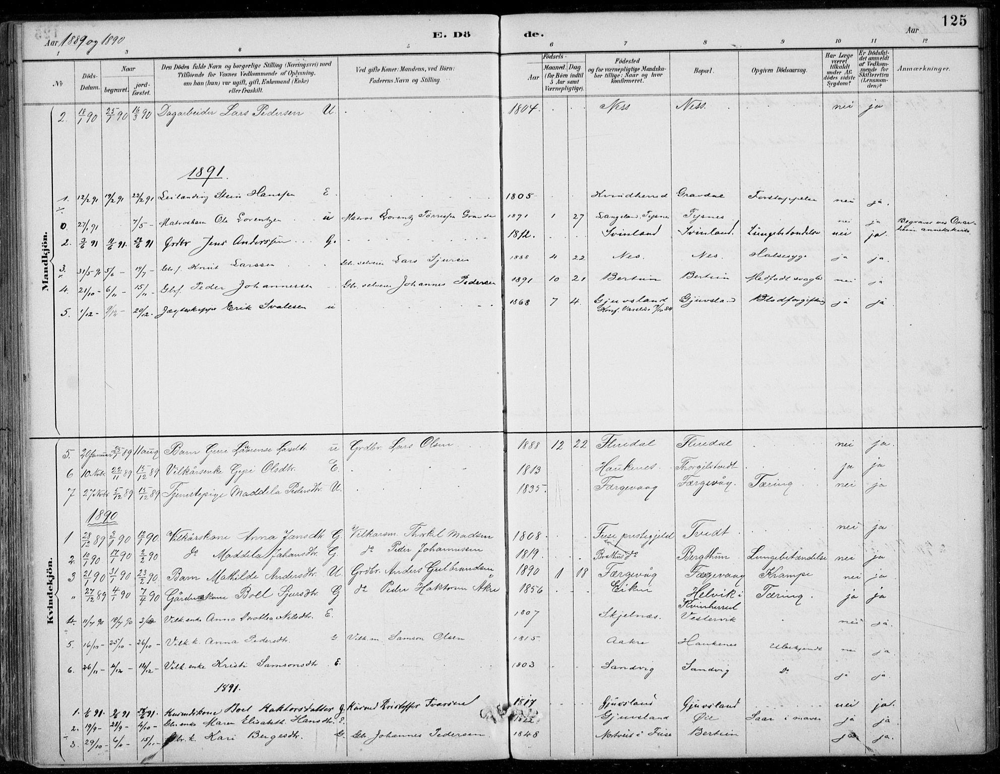 SAB, Strandebarm sokneprestembete, H/Haa: Ministerialbok nr. D  1, 1886-1912, s. 125