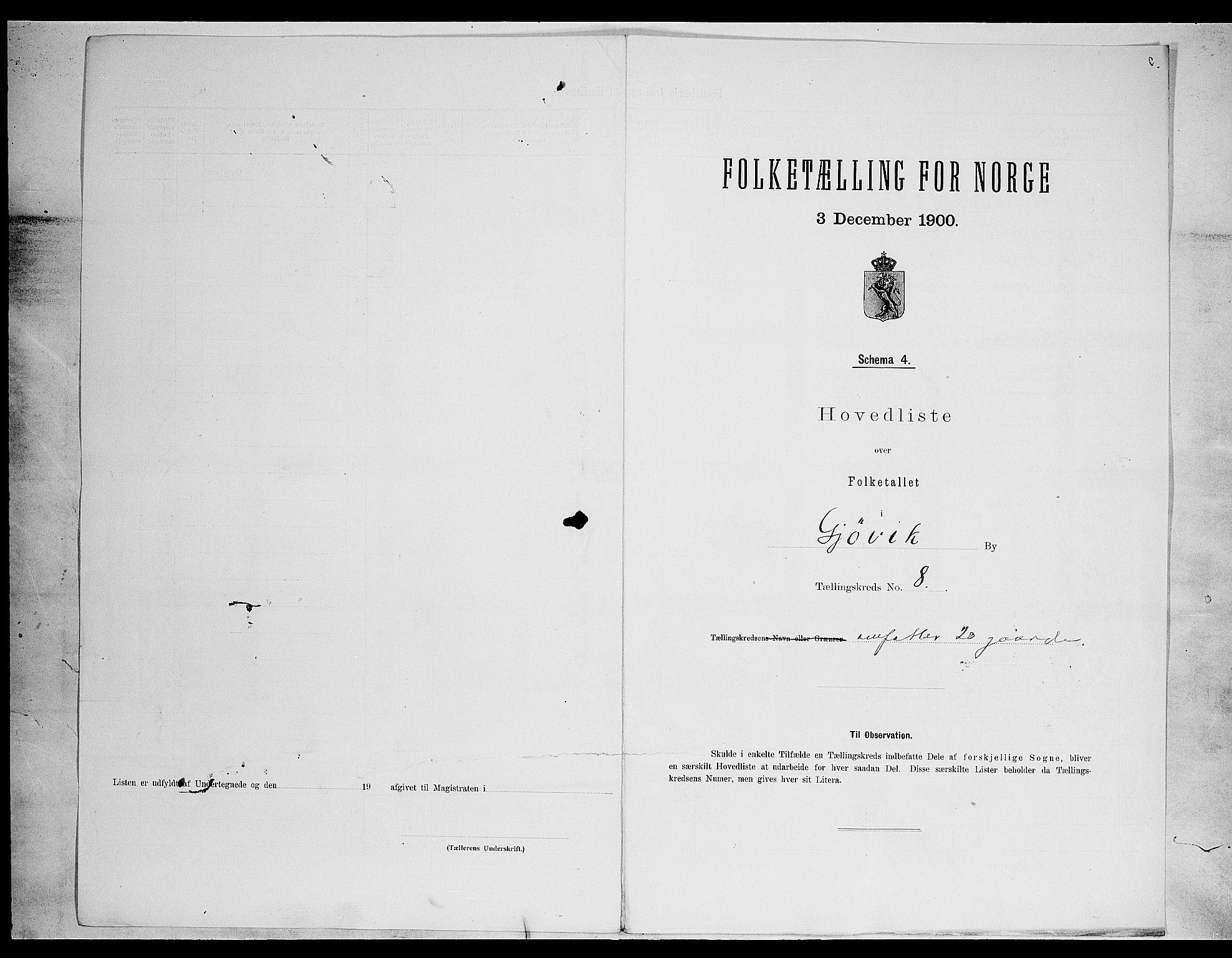 SAH, Folketelling 1900 for 0502 Gjøvik kjøpstad, 1900, s. 29