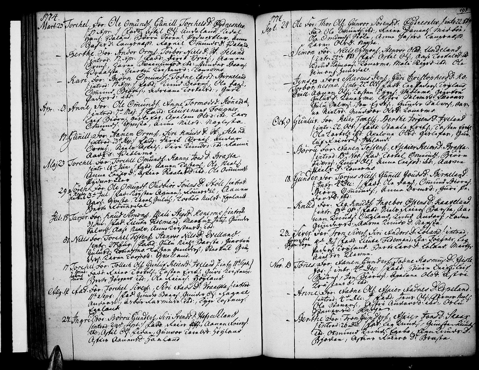 SAK, Sør-Audnedal sokneprestkontor, F/Fa/Fab/L0002: Ministerialbok nr. A 2 /4, 1768-1814, s. 193