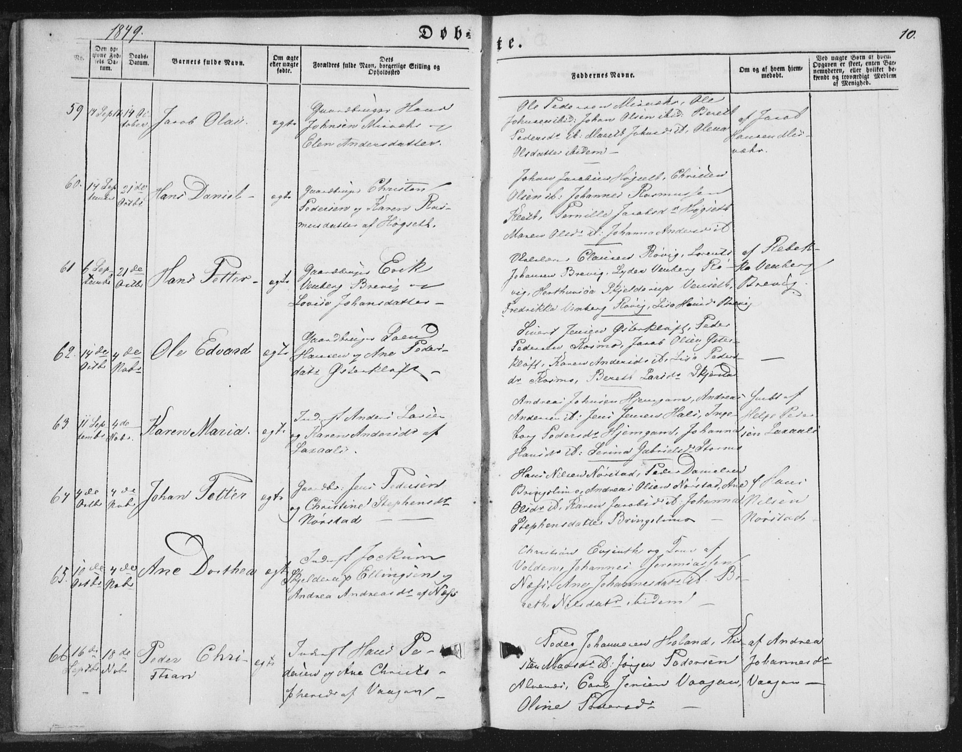 SAT, Ministerialprotokoller, klokkerbøker og fødselsregistre - Nordland, 852/L0738: Ministerialbok nr. 852A08, 1849-1865, s. 10