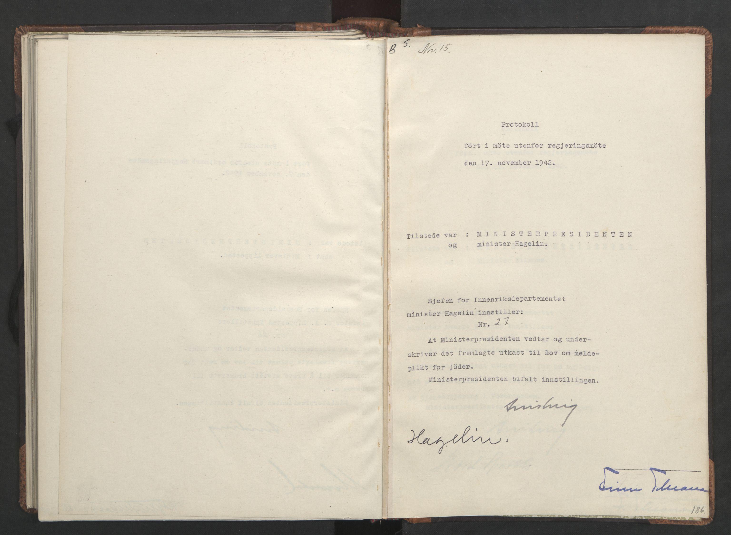 RA, NS-administrasjonen 1940-1945 (Statsrådsekretariatet, de kommisariske statsråder mm), D/Da/L0001: Beslutninger og tillegg (1-952 og 1-32), 1942, s. 185b-186a