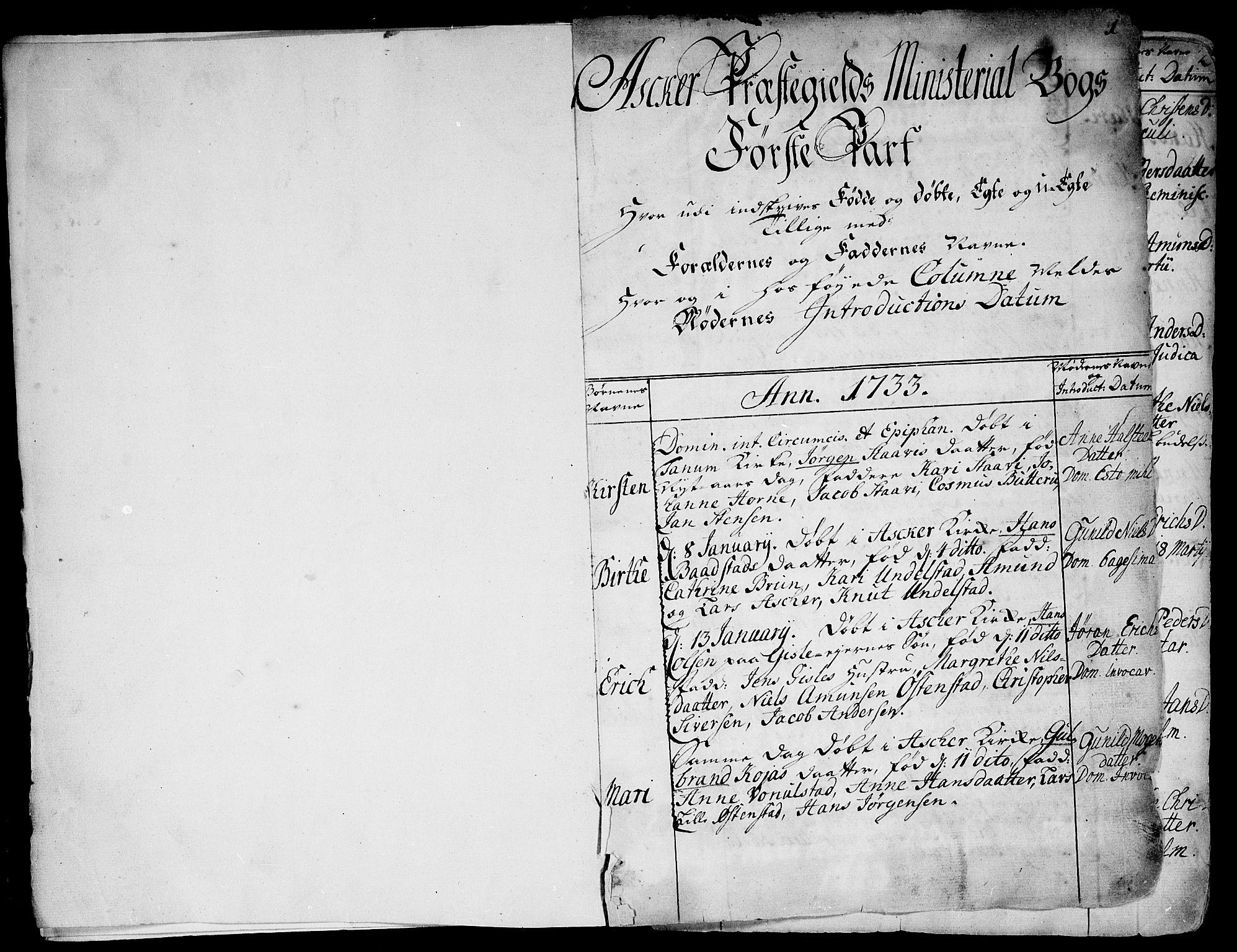 SAO, Asker prestekontor Kirkebøker, F/Fa/L0002: Ministerialbok nr. I 2, 1733-1766, s. 1