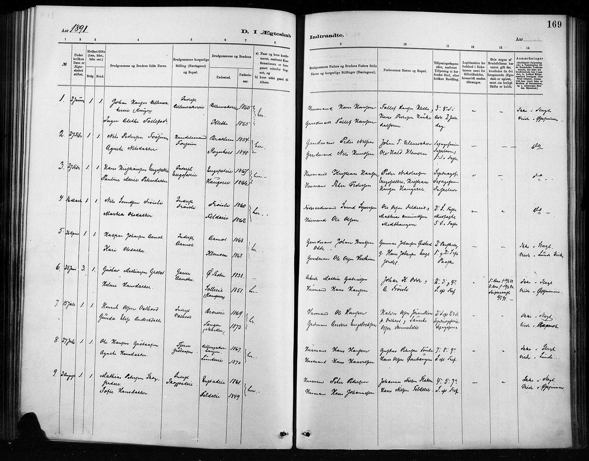 SAH, Nordre Land prestekontor, Ministerialbok nr. 4, 1882-1896, s. 169
