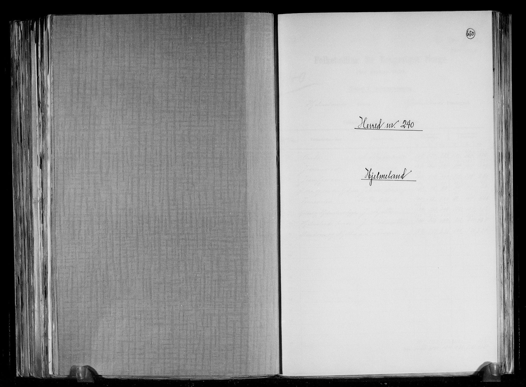 RA, Folketelling 1891 for 1133 Hjelmeland herred, 1891, s. 1