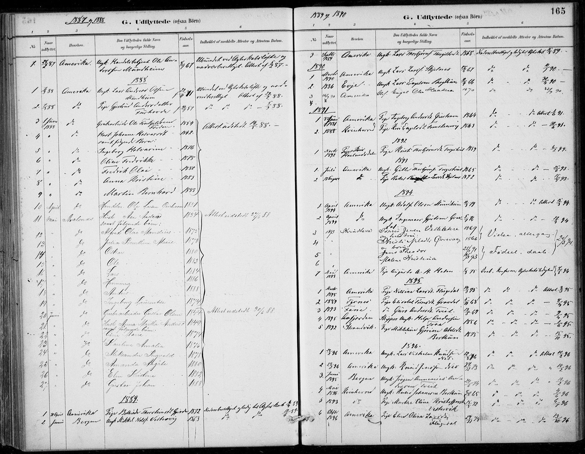 SAB, Strandebarm sokneprestembete, H/Haa: Ministerialbok nr. D  1, 1886-1912, s. 165