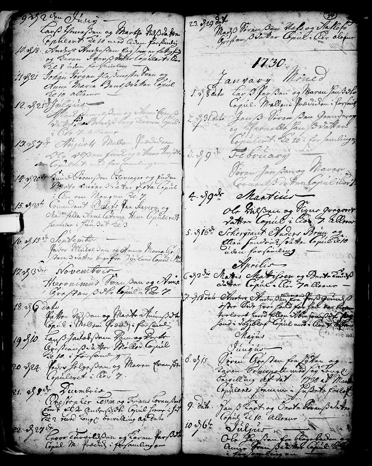 SAKO, Skien kirkebøker, F/Fa/L0002: Ministerialbok nr. 2, 1716-1757, s. 34