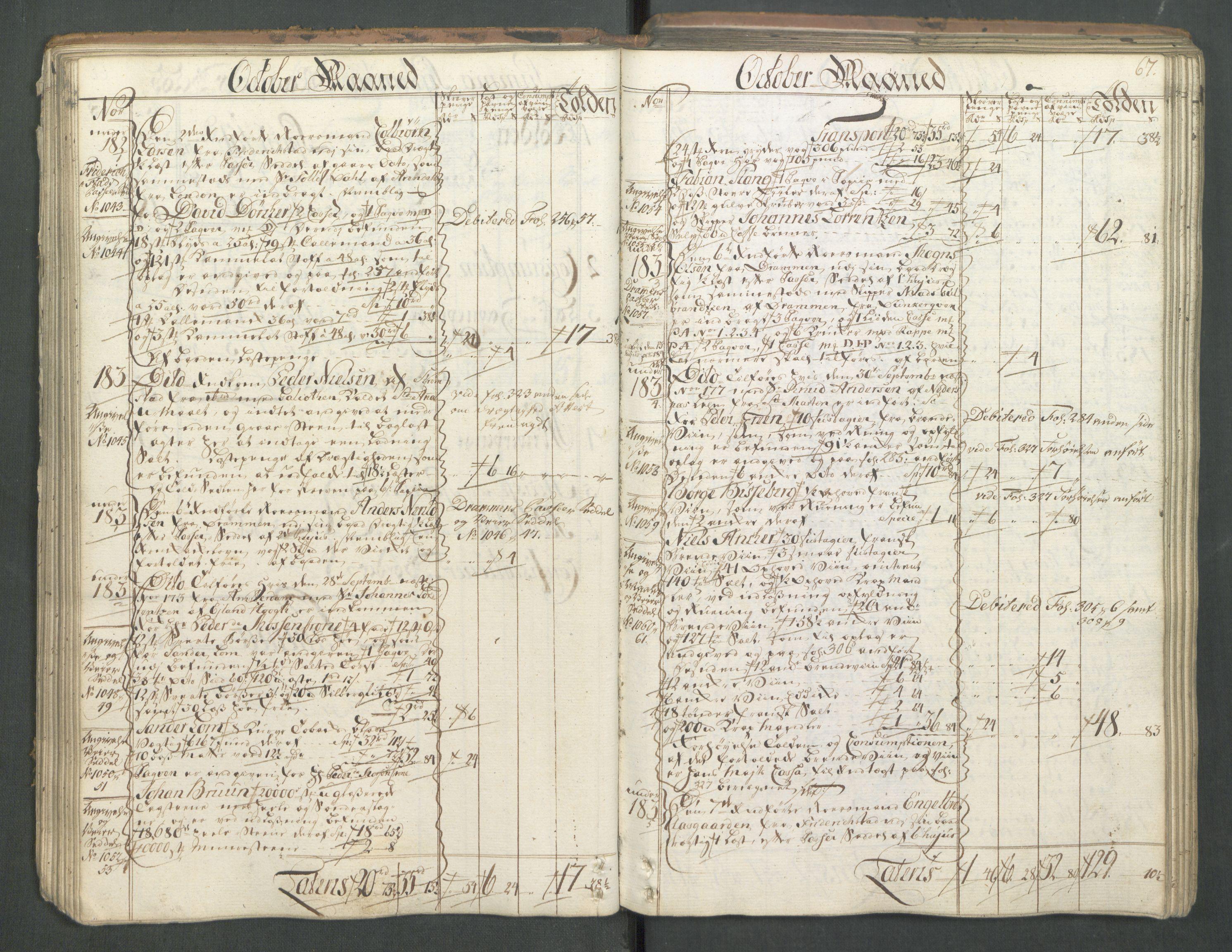 RA, Generaltollkammeret, tollregnskaper, R01/L0046: Tollregnskaper Fredrikshald, 1762, s. 66b-67a