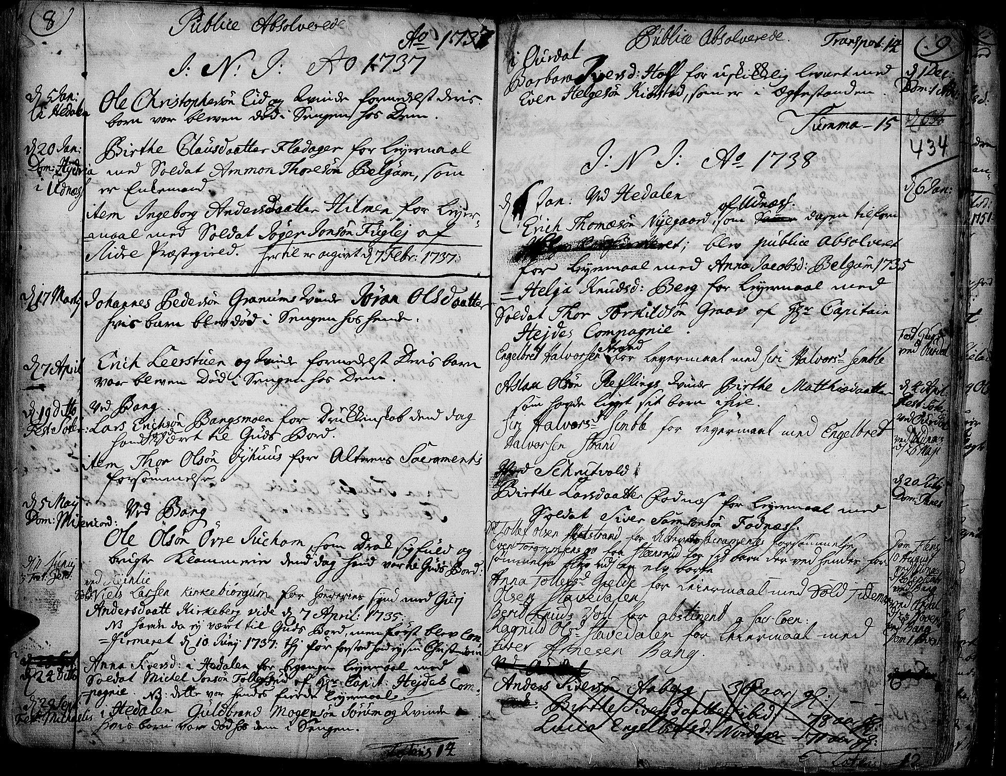 SAH, Aurdal prestekontor, Ministerialbok nr. 4, 1730-1762, s. 8-9